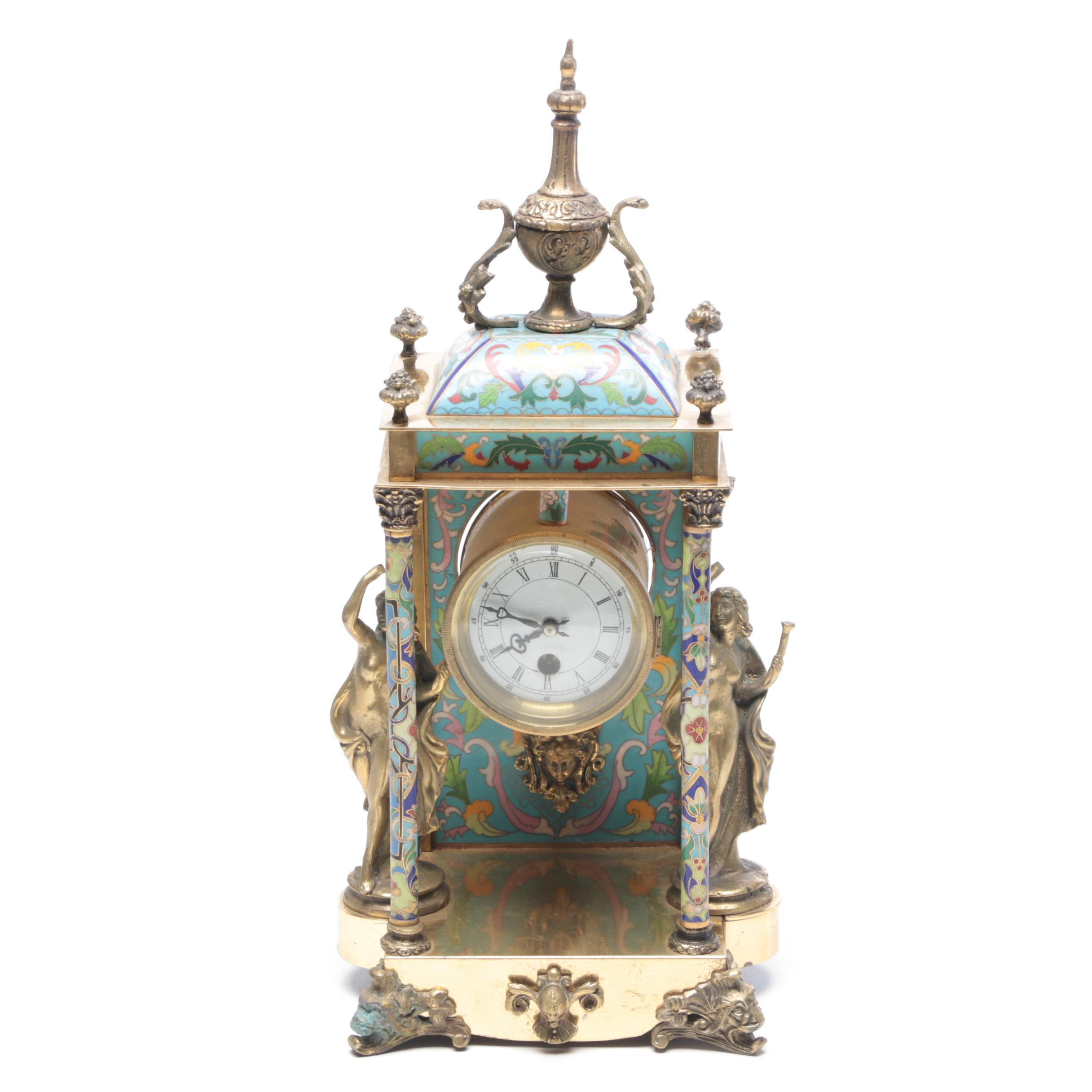Brass and Cloisonné Neoclassical Mantel Clock