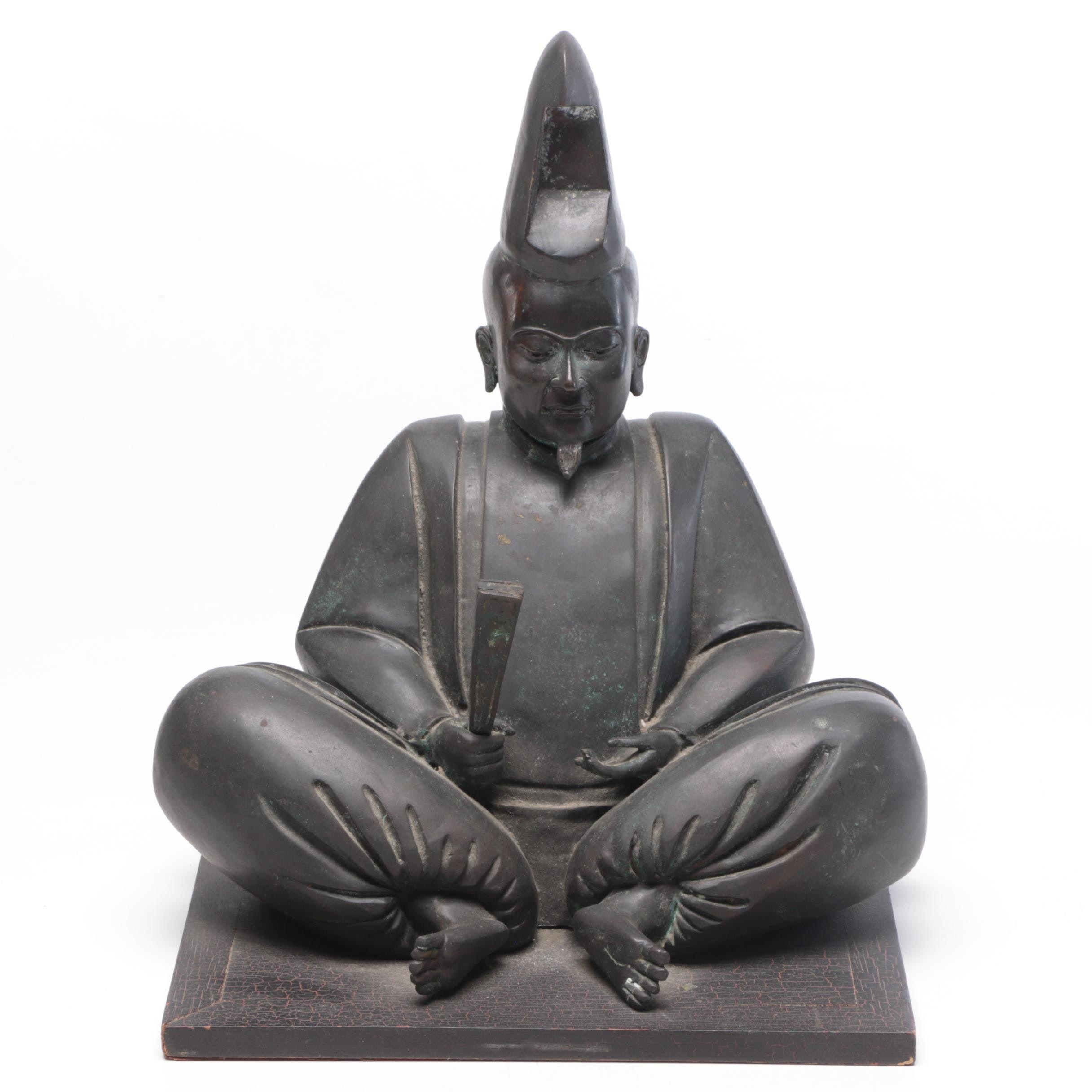 Japanese Cast Bronze Sculpture of Seated Figure
