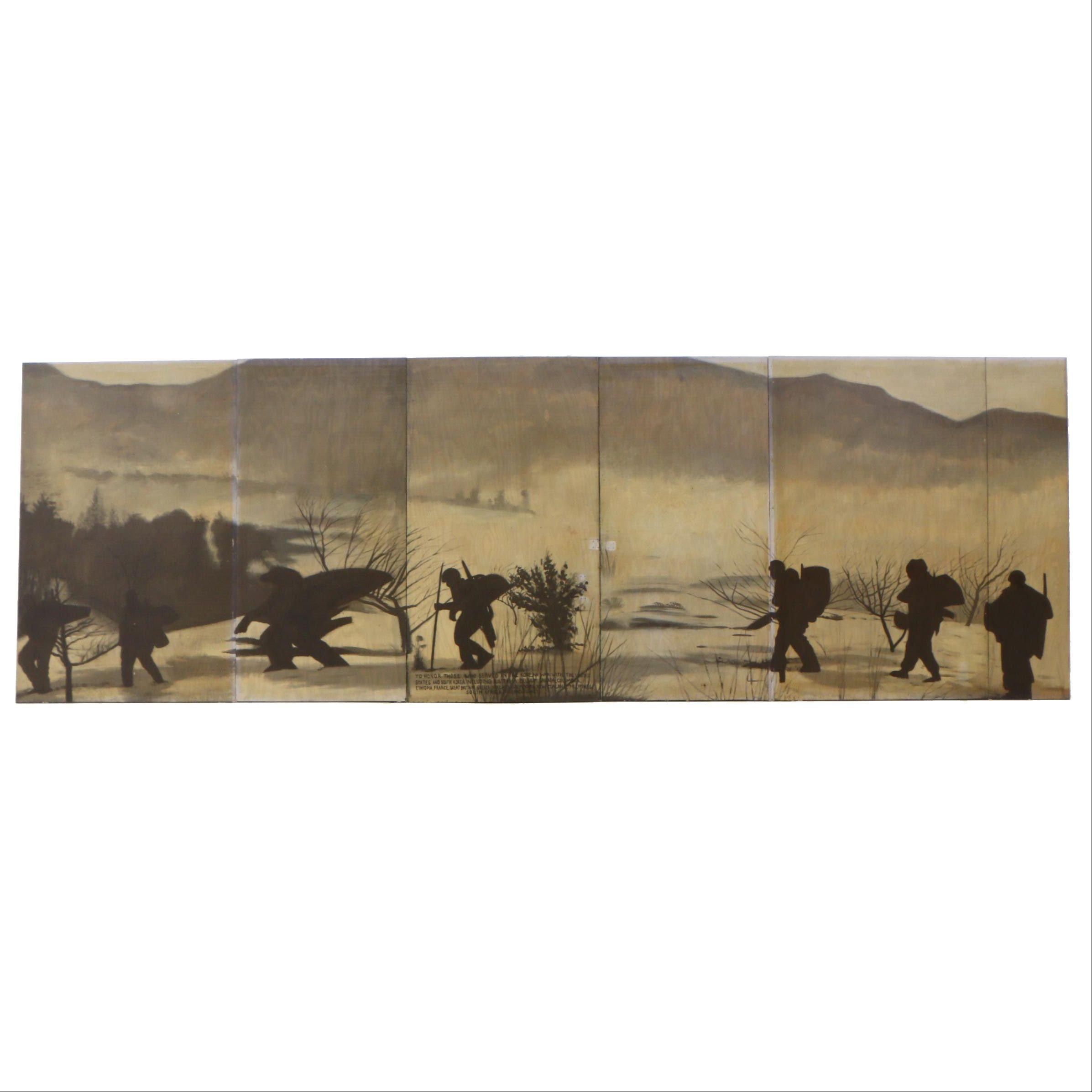 Greg Storer Multi-Panel Korean War Themed Mural Painting