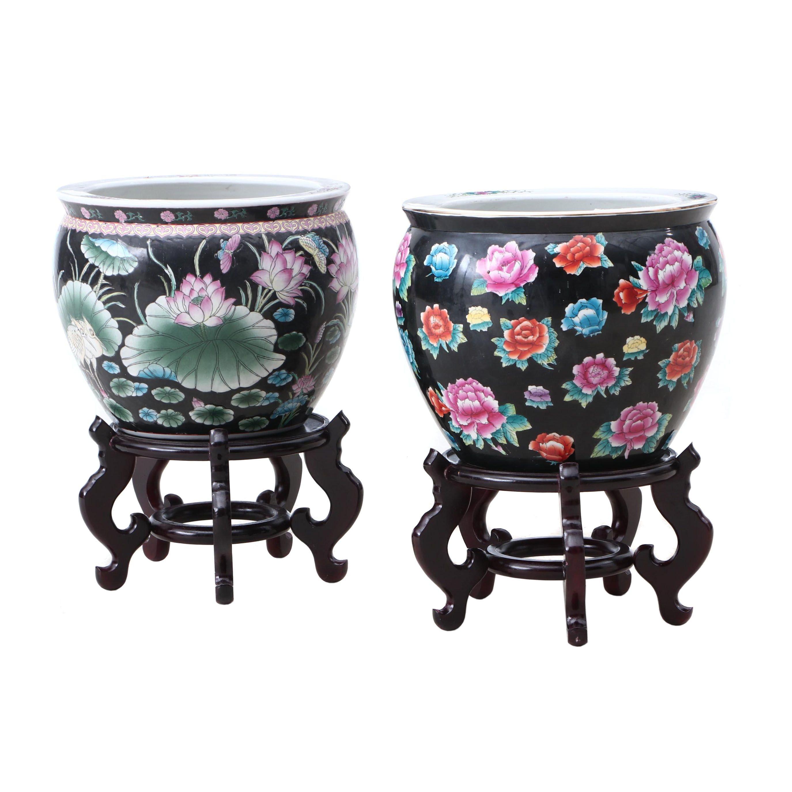 Chinese Ceramic Fishbowl Jardinieres