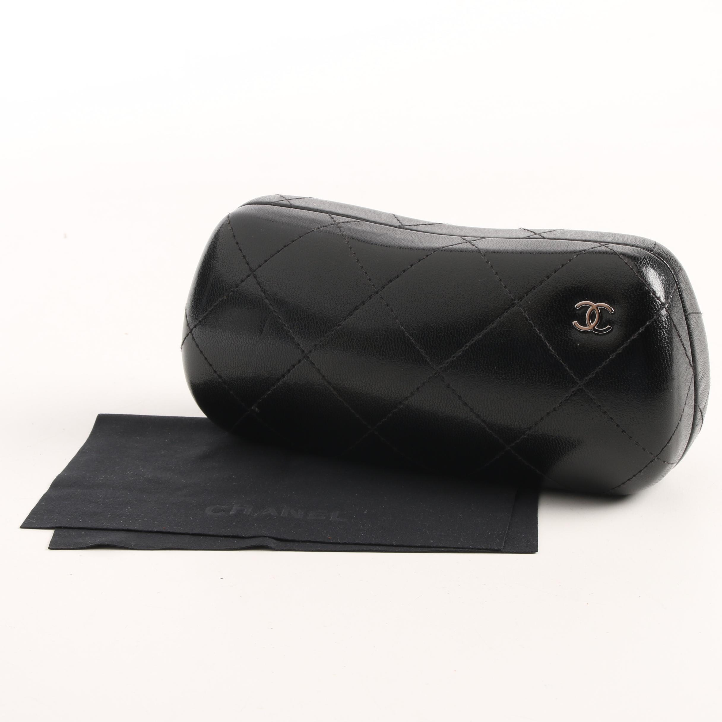 Chanel Quilted Black Leather Sunglasses Case and Cleaning Cloth