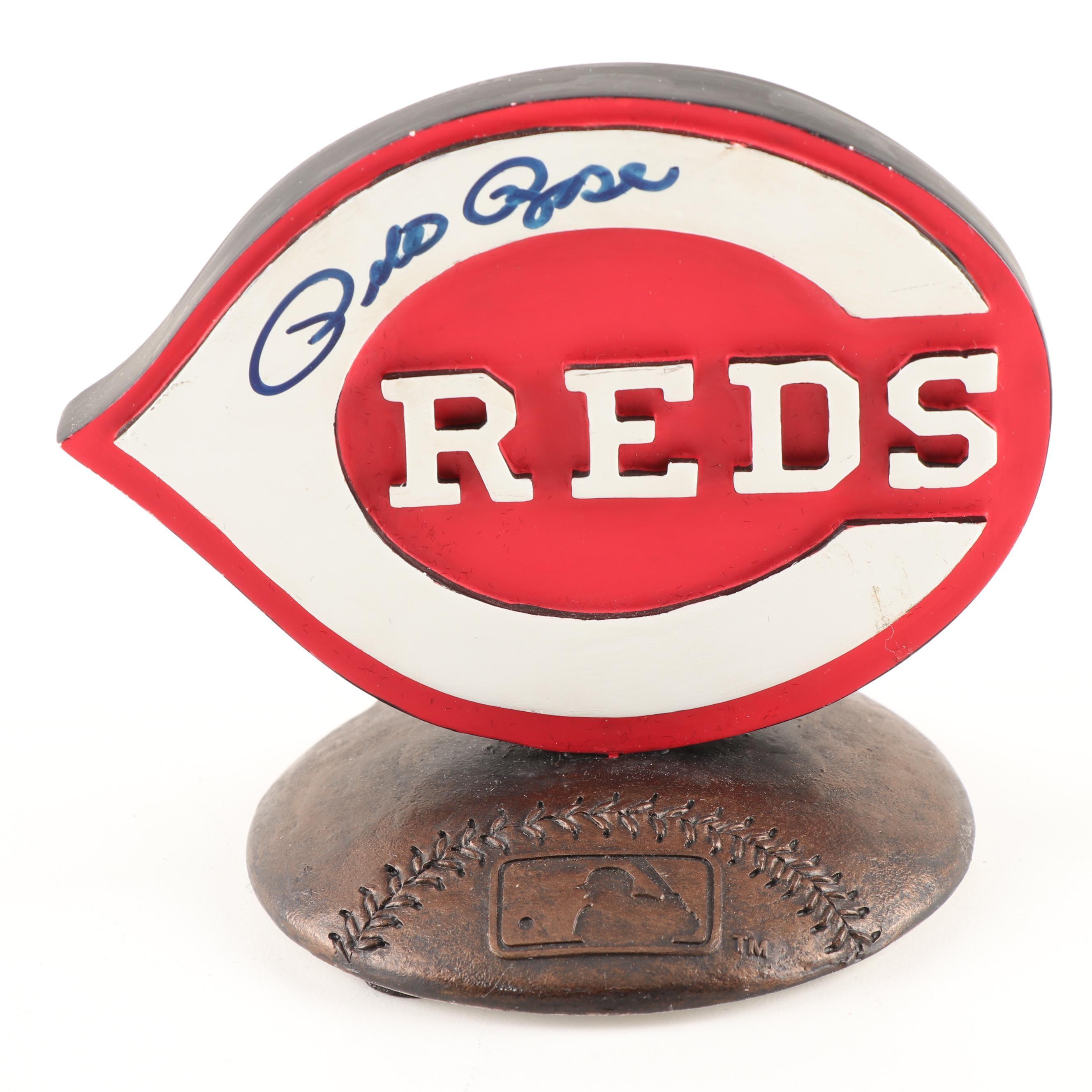 Pete Rose Autographed Cincinnati Reds Major League Tabletop Plaque