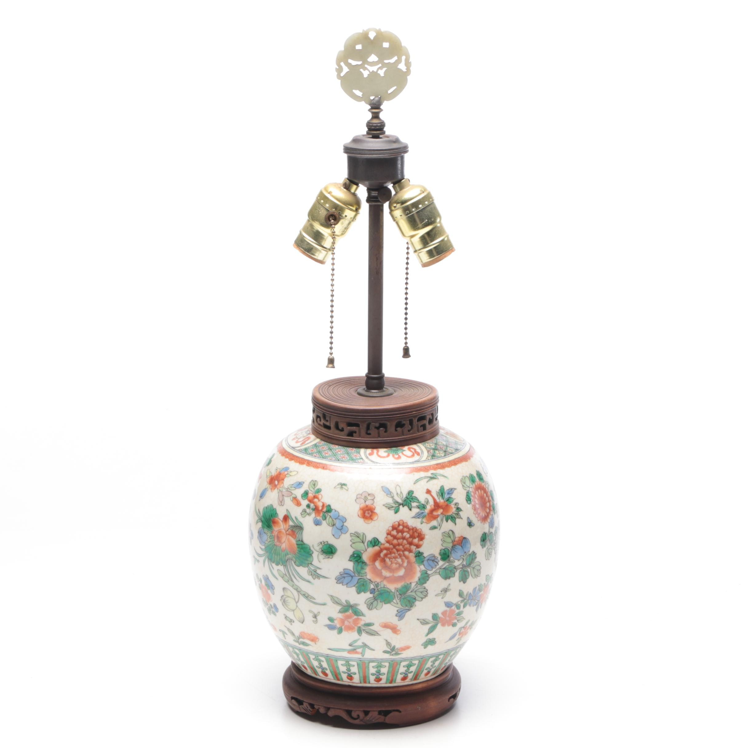 Chinese Hand-Painted Porcelain and Brass Table Lamp, Mid Century
