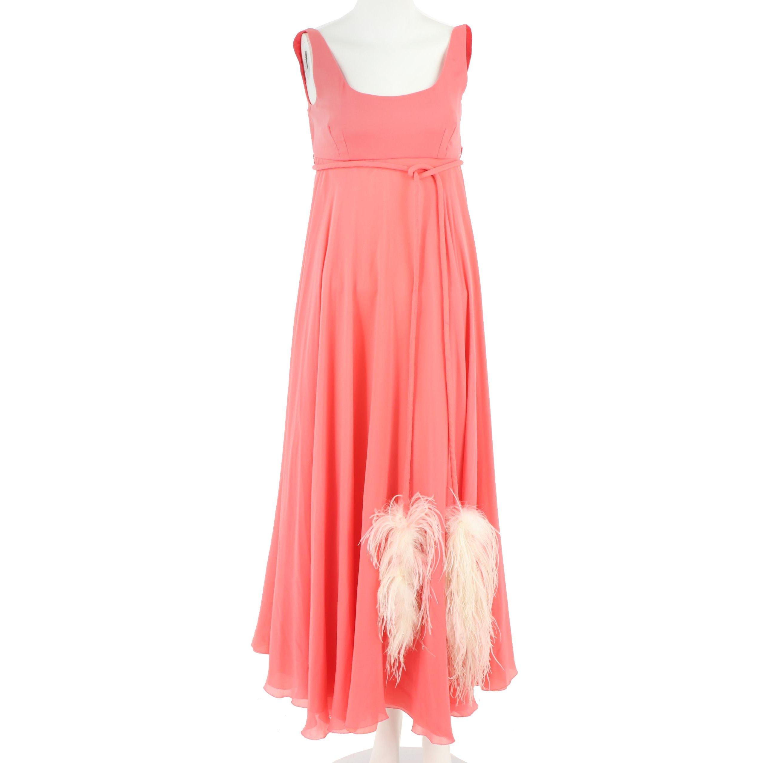 Sakowitz of Houston Coral Chiffon Dress with Ostrich Feather Belt, 1960s Vintage