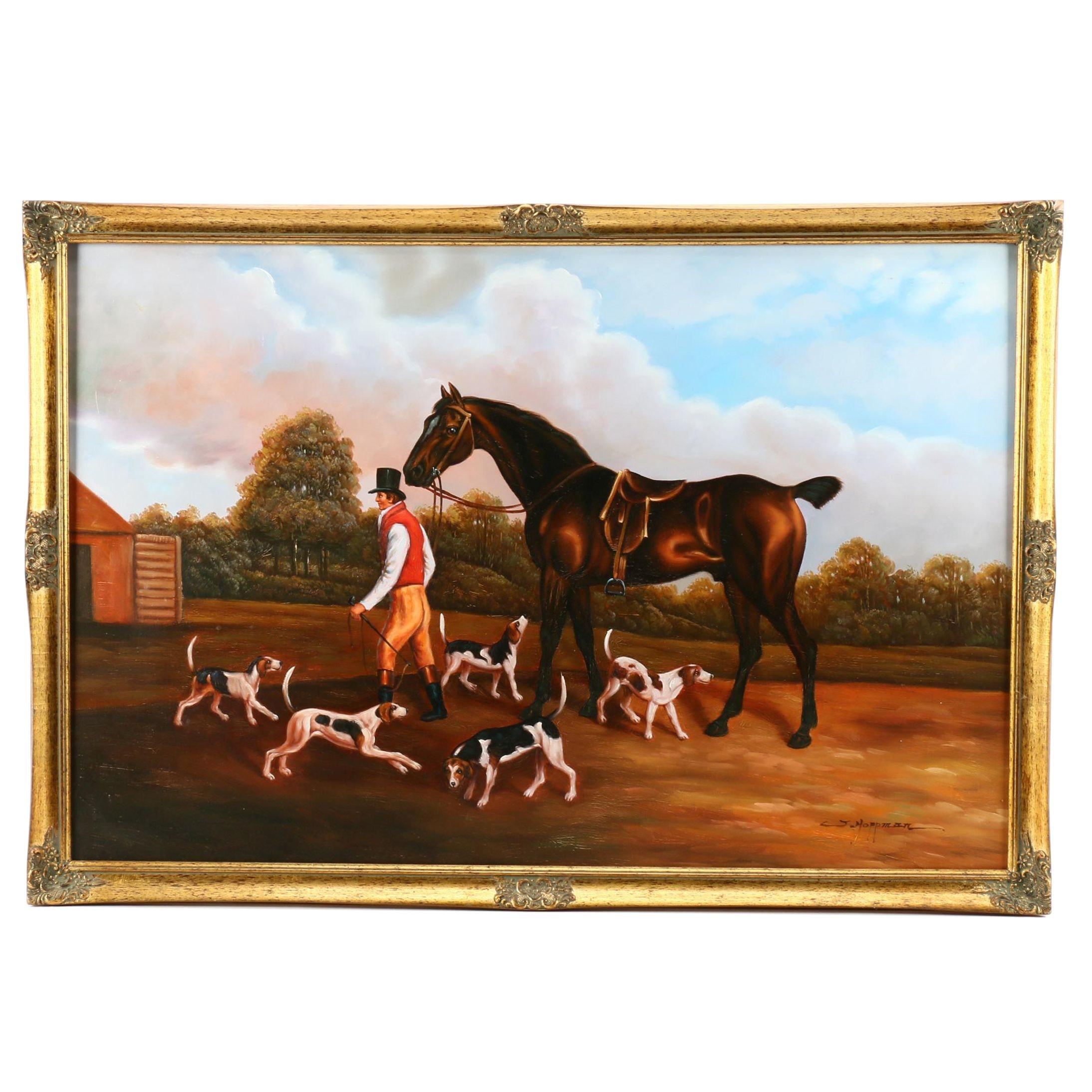 J. Hoppman Contemporary Hunting Genre Oil Painting
