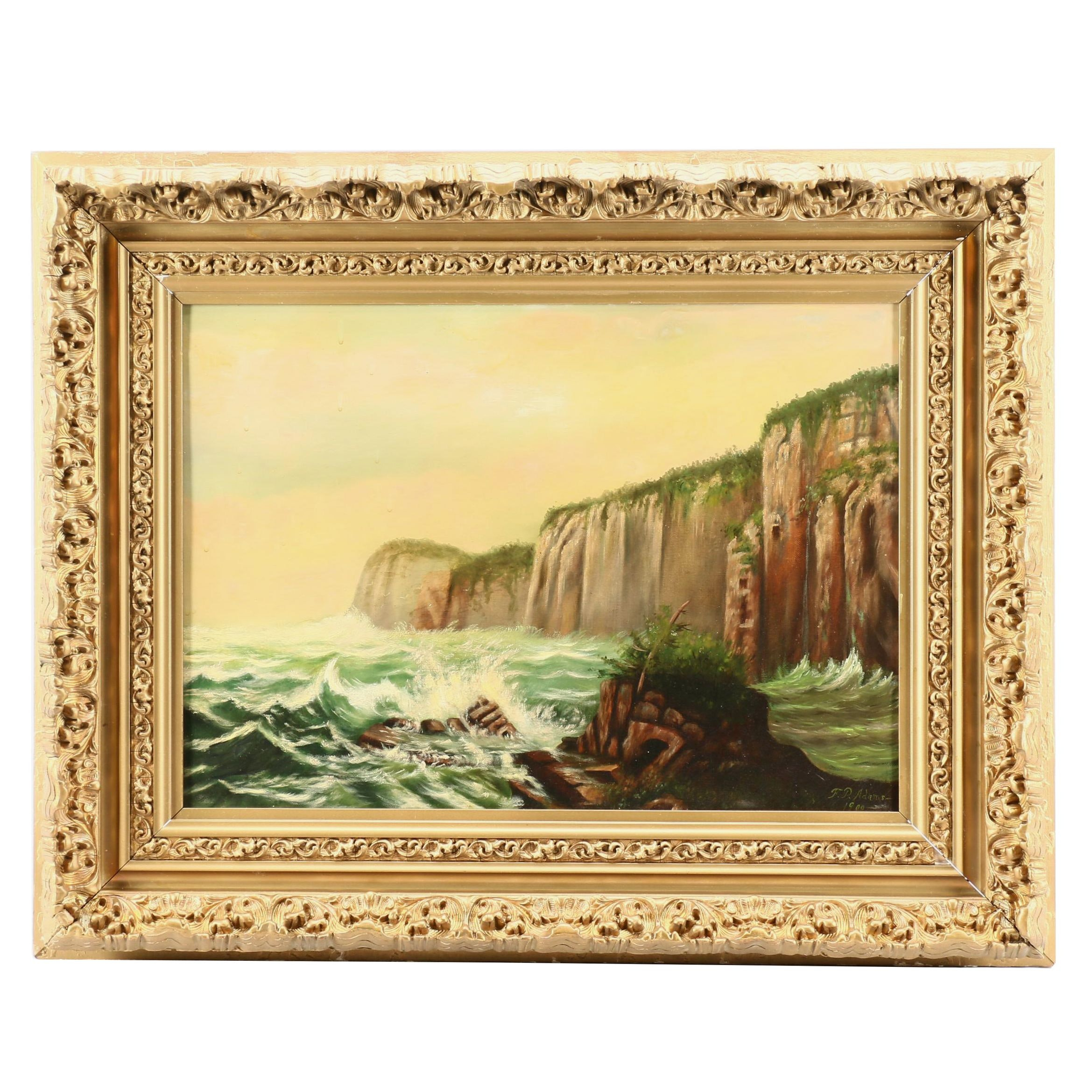 F. P. Adams Oil Painting of Coastal Cliffs