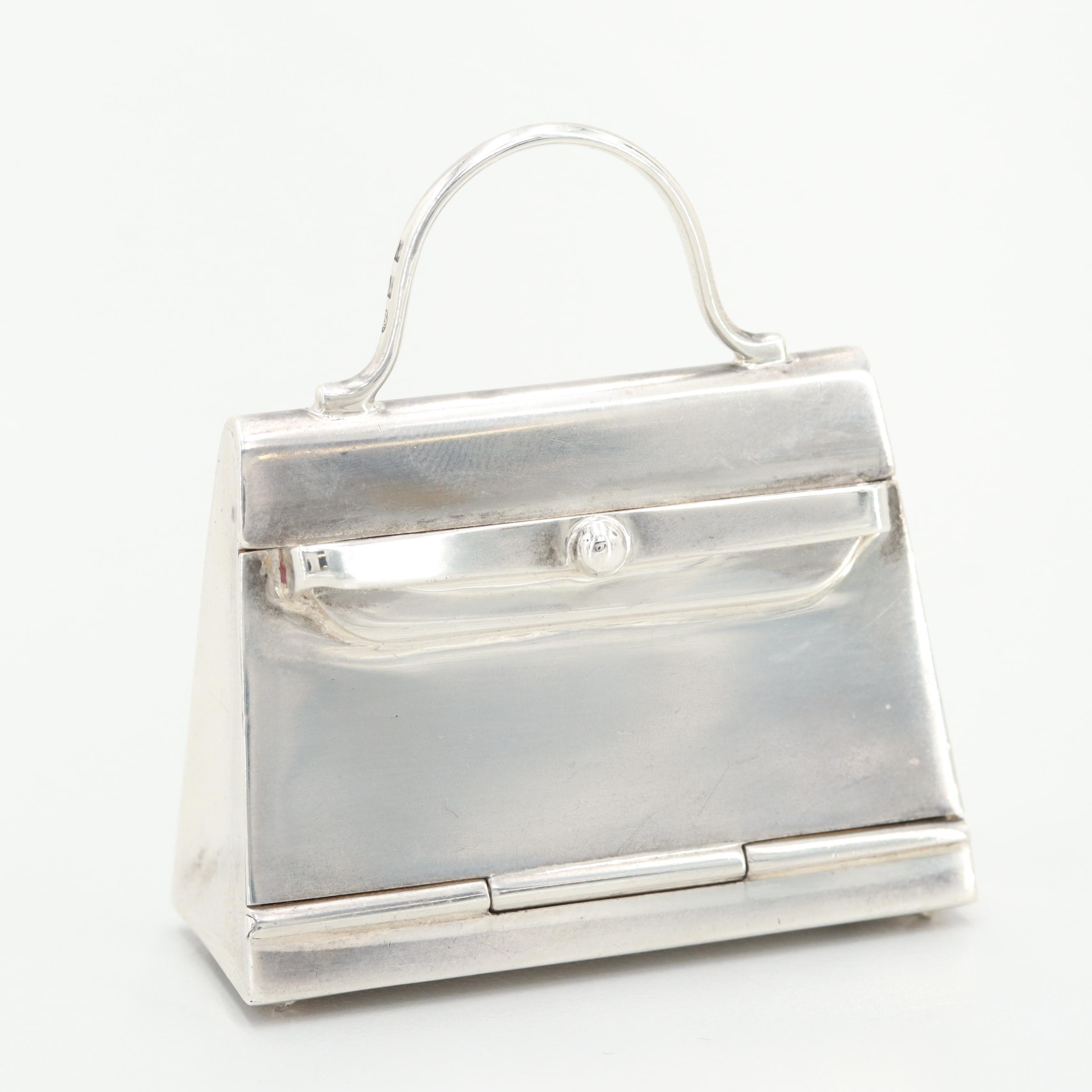 "Vintage Hermès Sterling Silver ""Mini Kelly Bag"" Pill Box"