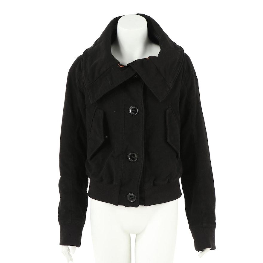 McQ Alexander McQueen Black Cotton Blend Bomber Jacket