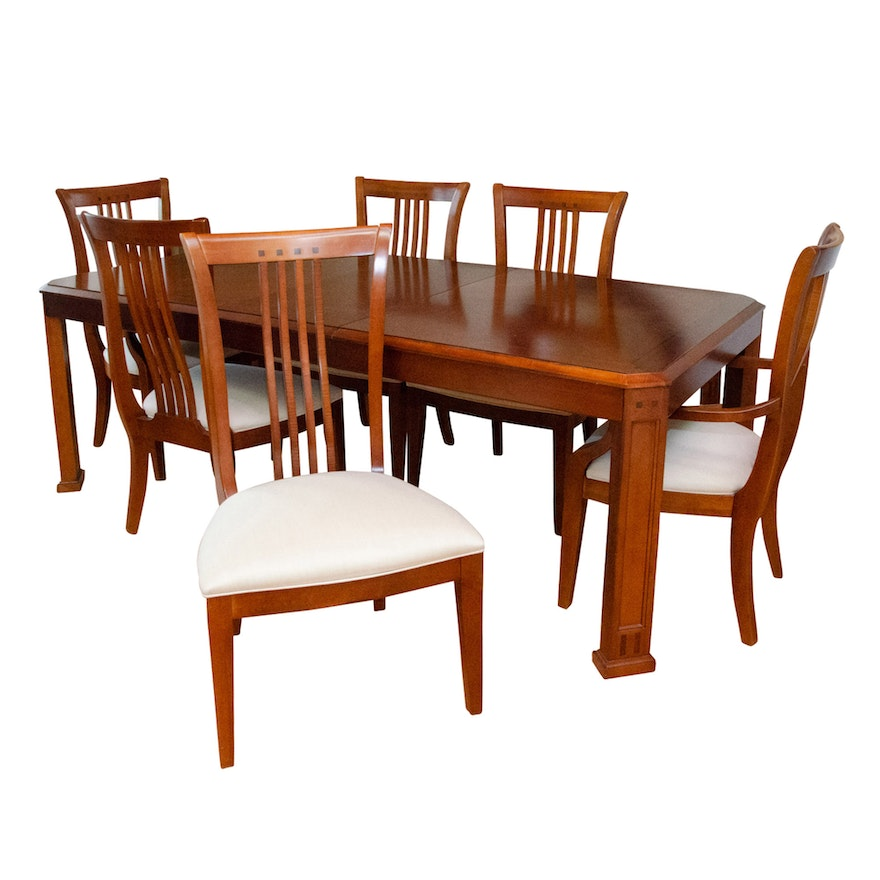 Contemporary Thomasville Cherry Mission Style Dining Table with Chairs