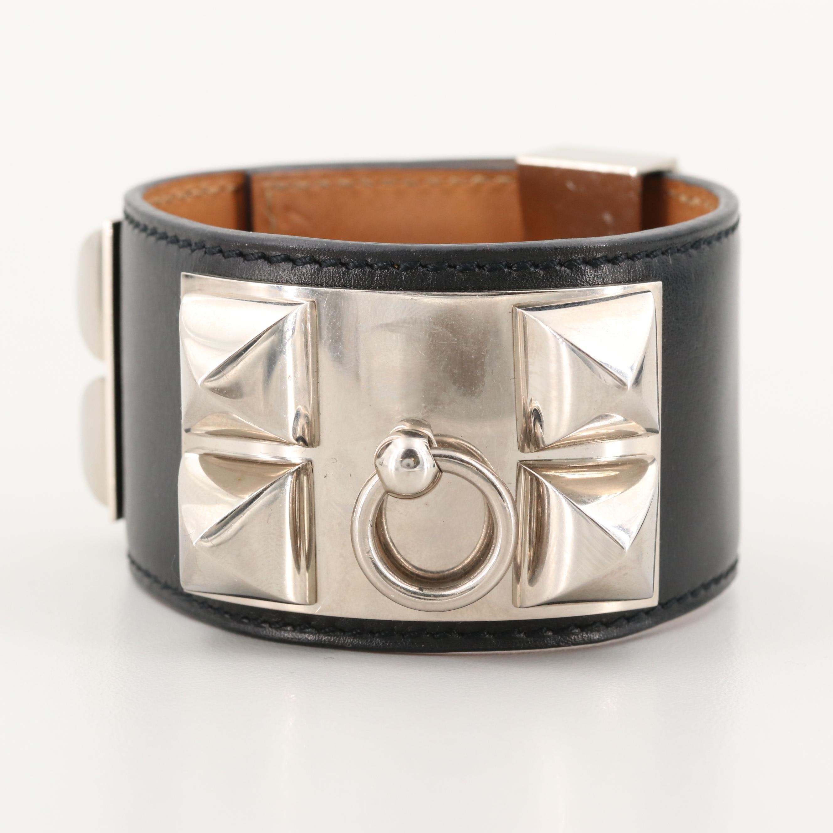 "Hermès ""Collier de Chien"" Leather Cuff Bracelet"