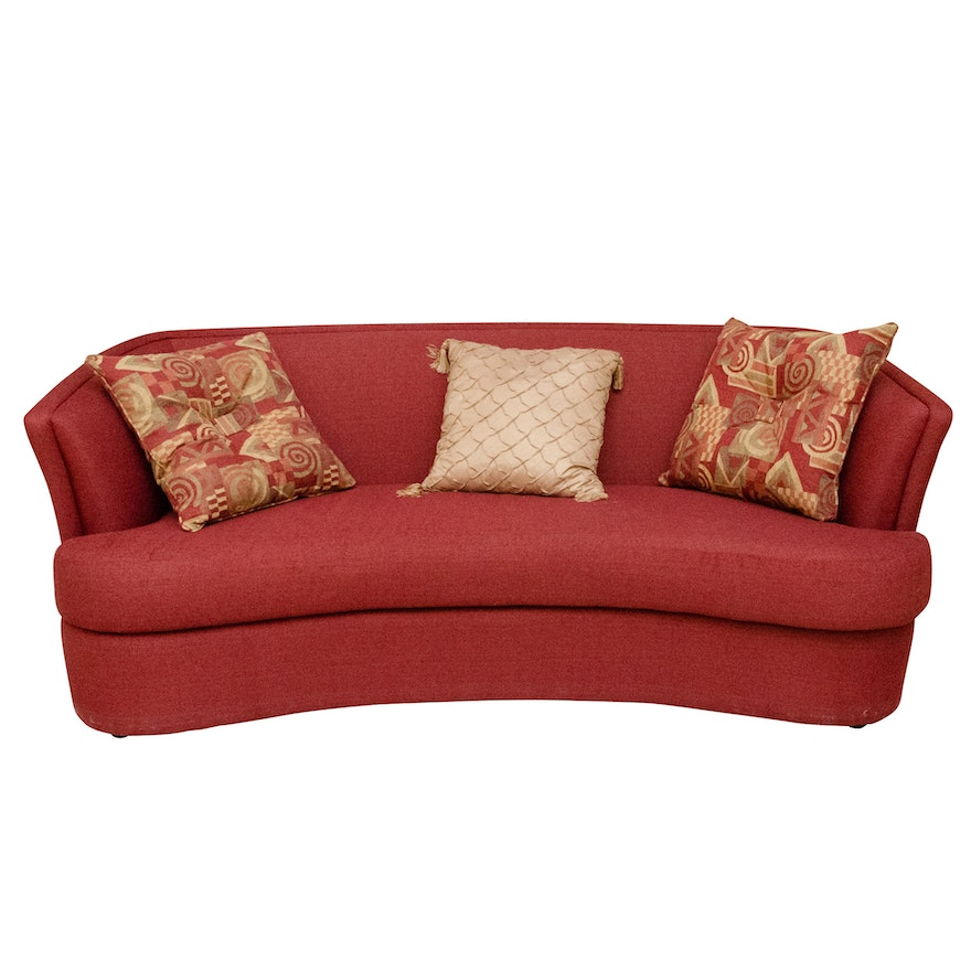 Contemporary Burgundy Upholstered Curved Sofa