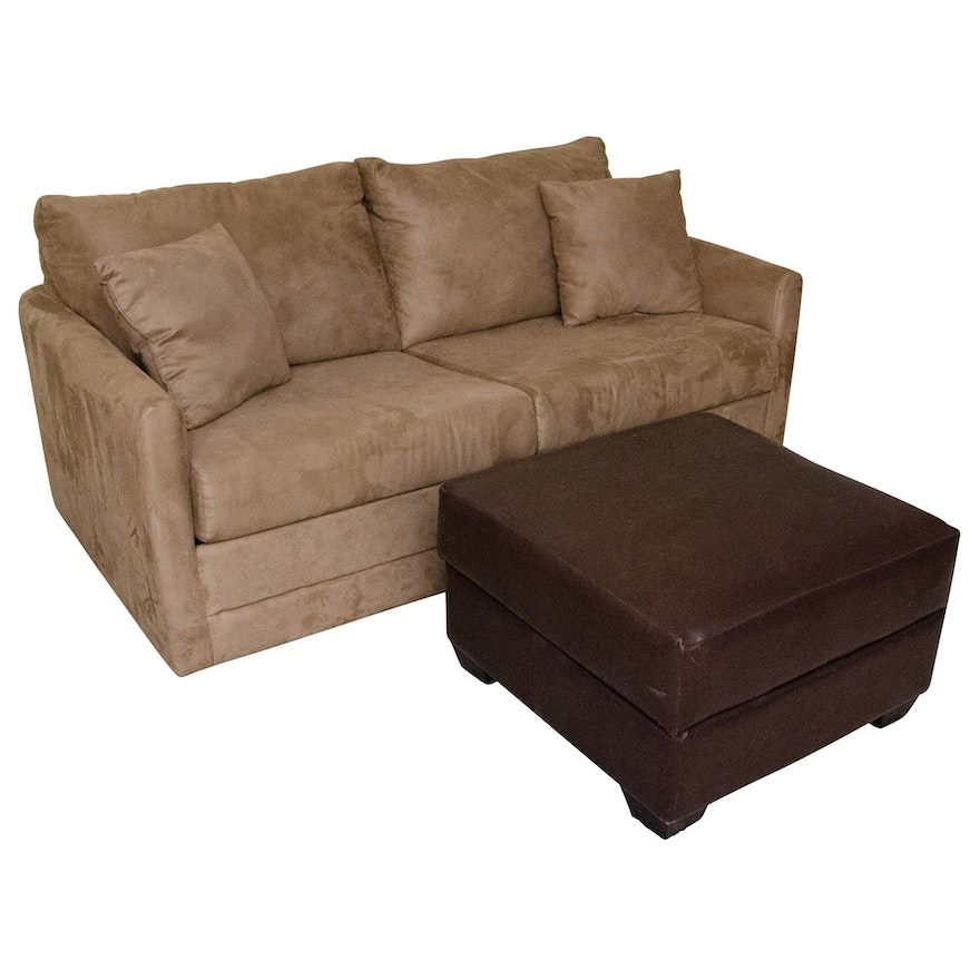 Excellent Microfiber Loveseat With Pull Out Bed And Faux Leather Ottoman Alphanode Cool Chair Designs And Ideas Alphanodeonline