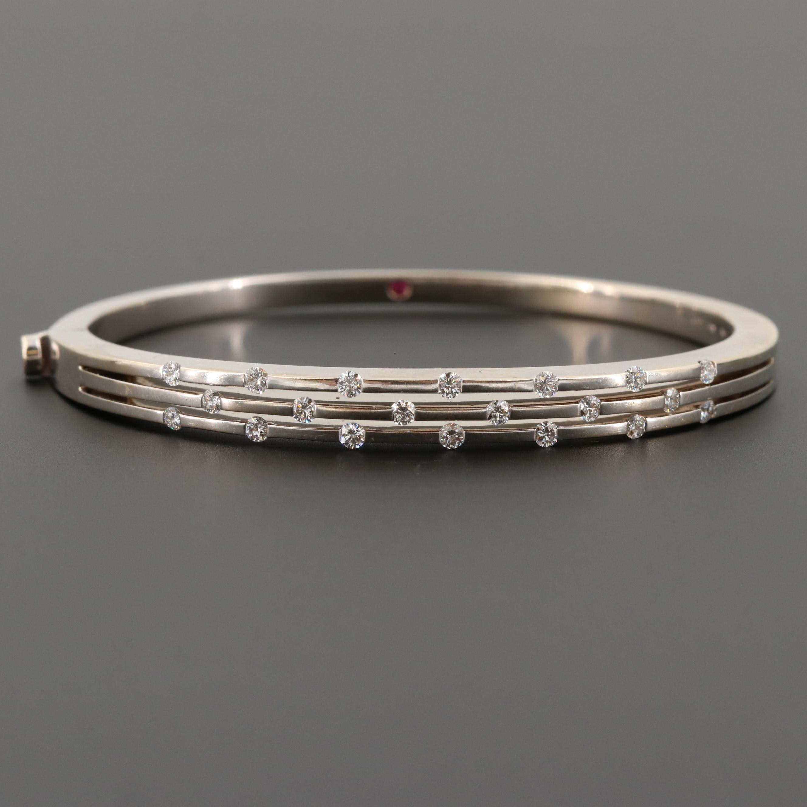 "Roberto Coin ""Classica Parisienne"" 18K White Gold 1.00 CTW Diamond Bracelet"