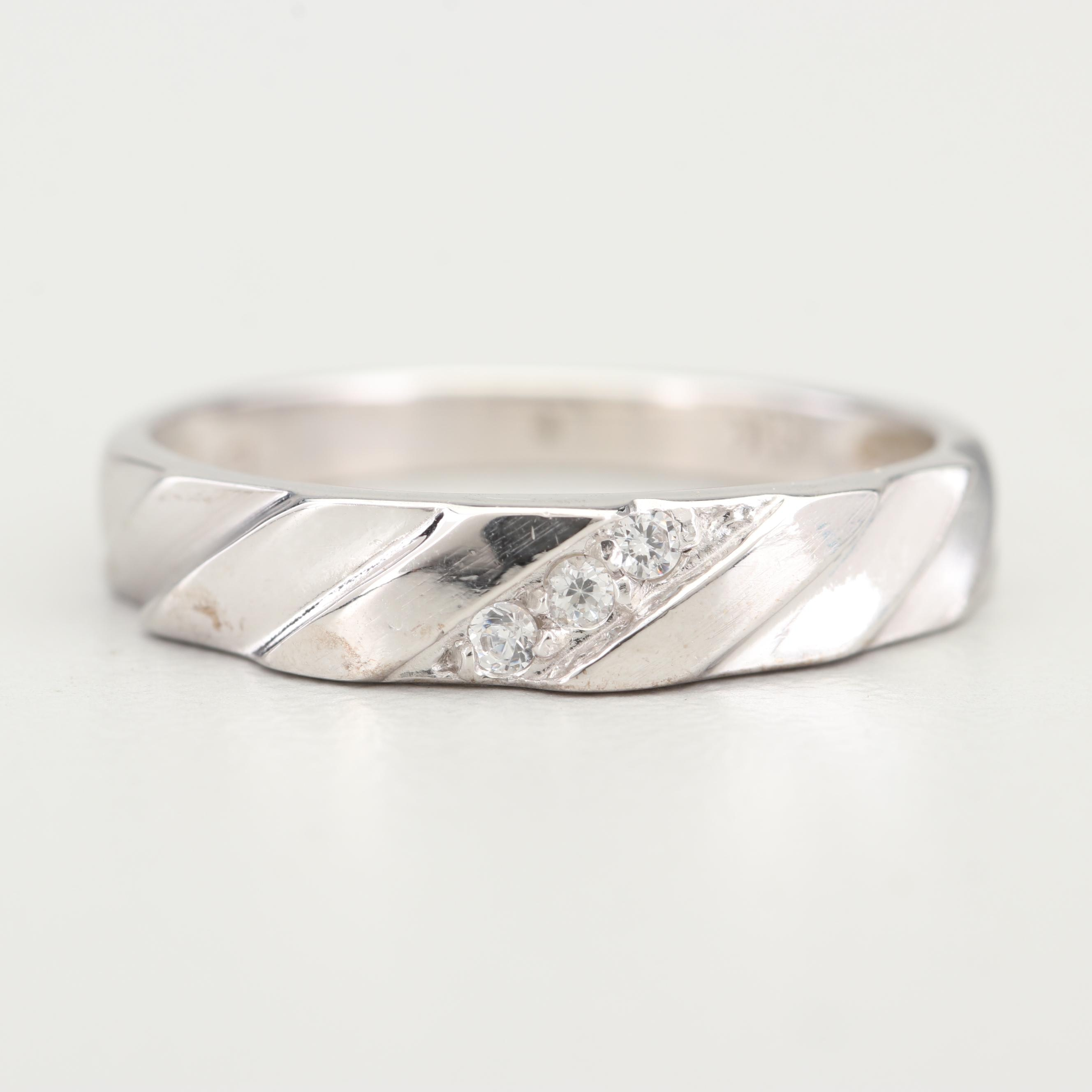 14K White Gold and Cubic Zirconia Band