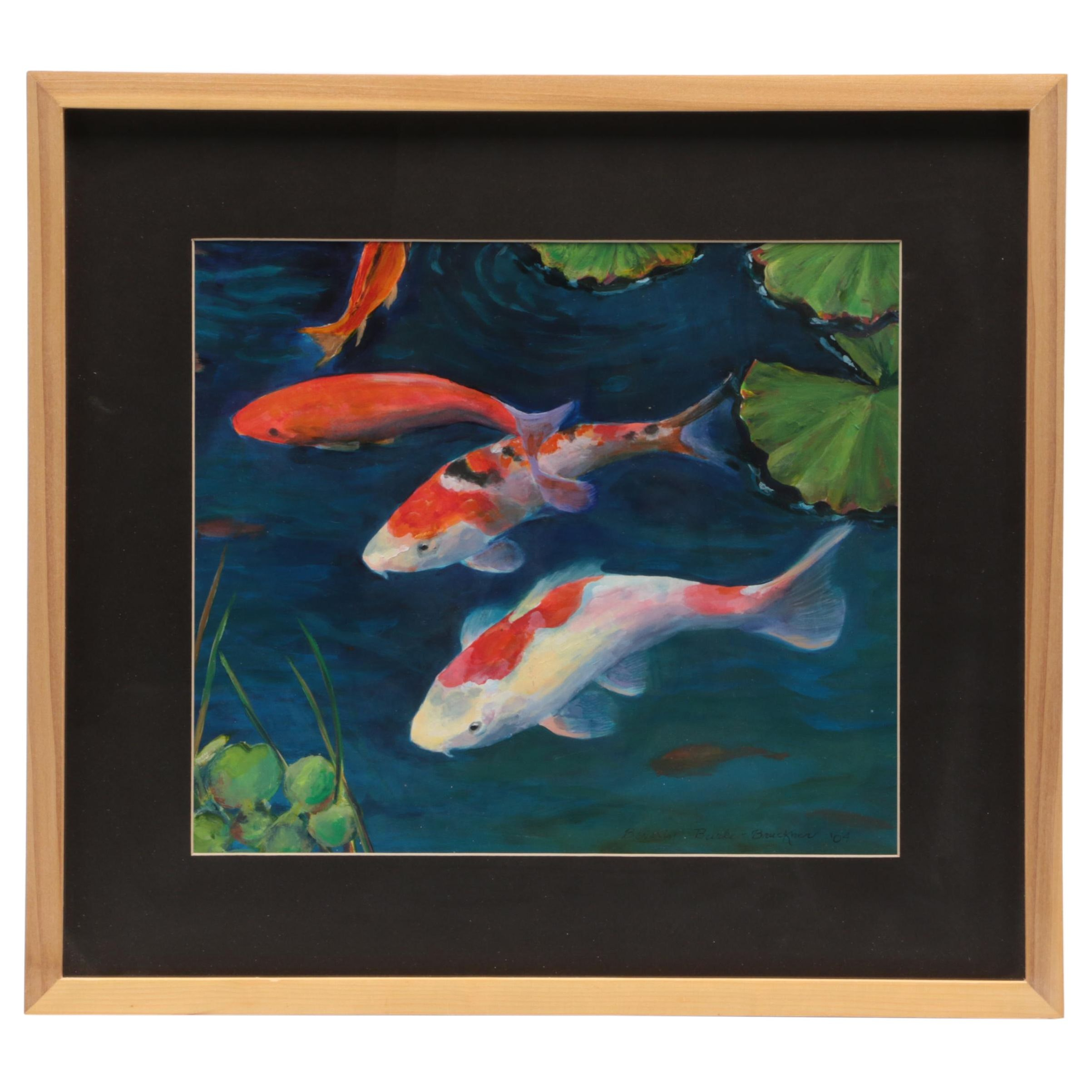 Beverly Burke-Bruckner Gouache Painting of Koi Fish