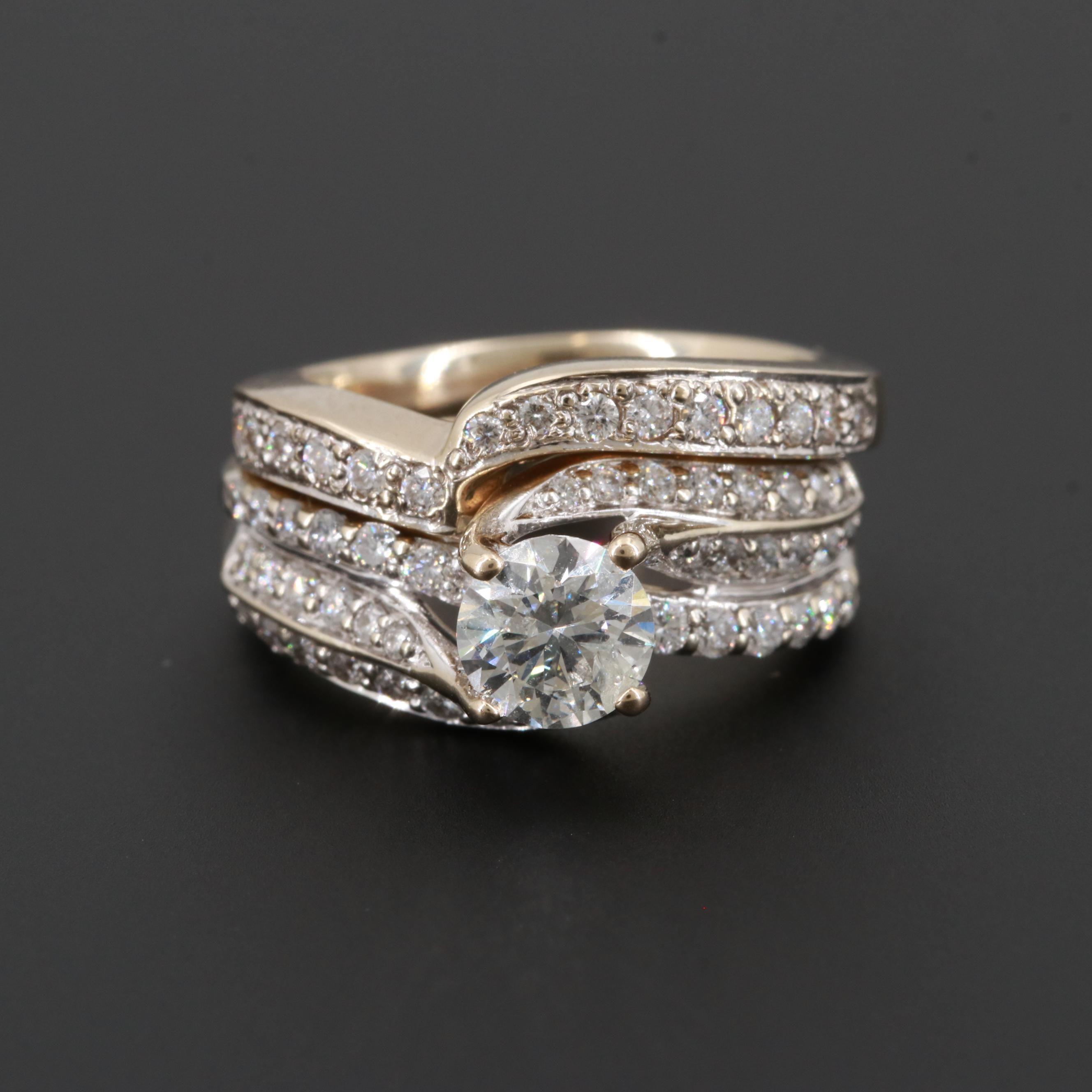 18K White Gold 1.43 CTW Diamond Ring Set