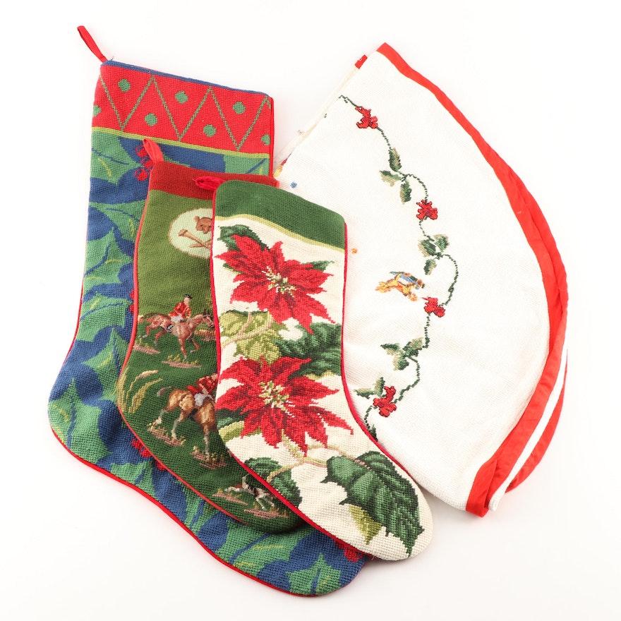 Needlepoint Christmas Stockings.Needlepoint Christmas Tree Skirt And Stockings