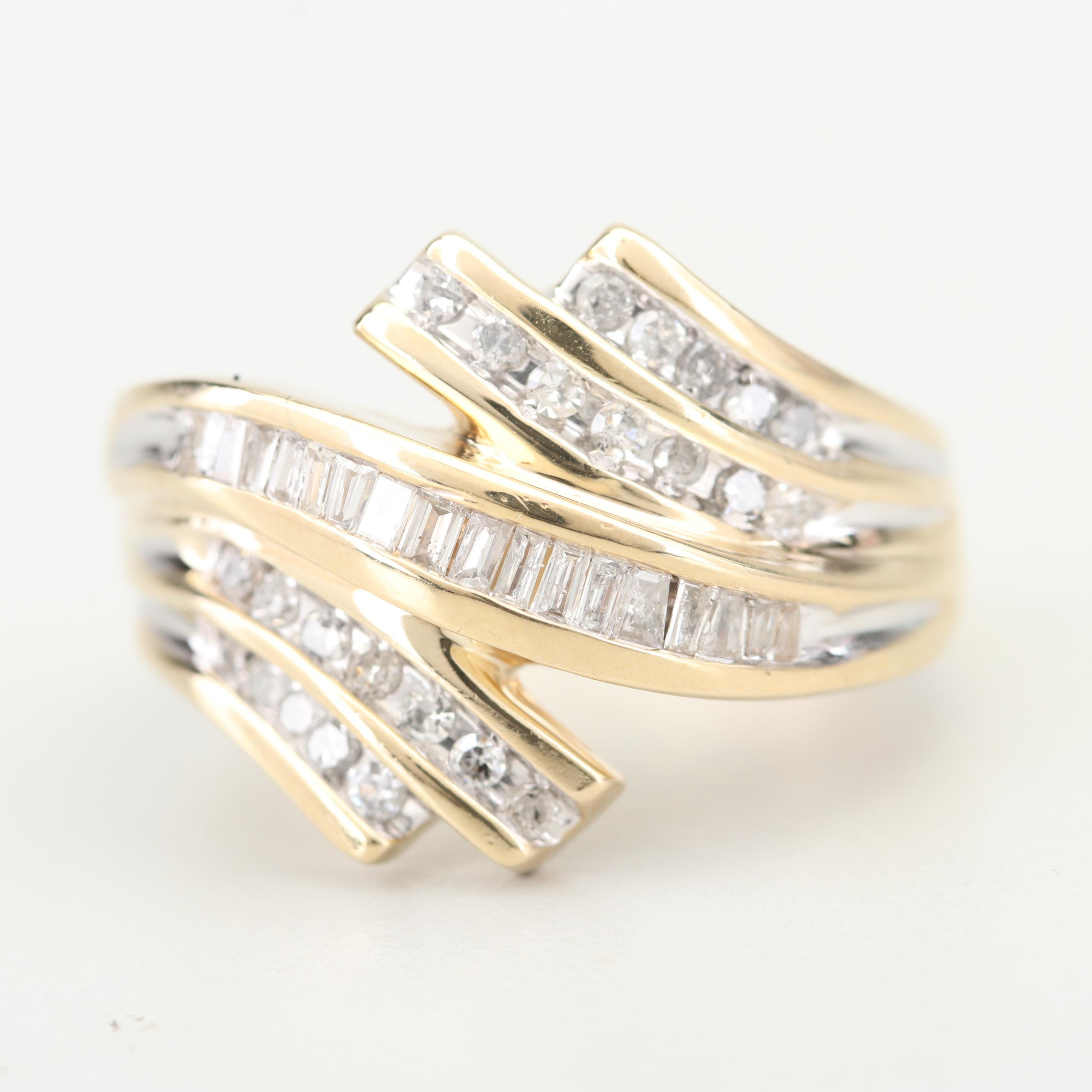 10K Yellow Gold and Diamond Bypass Ring