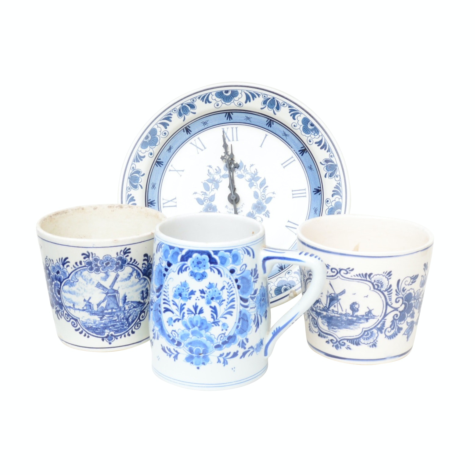 Hand Painted Blue Delft Vases and Clock