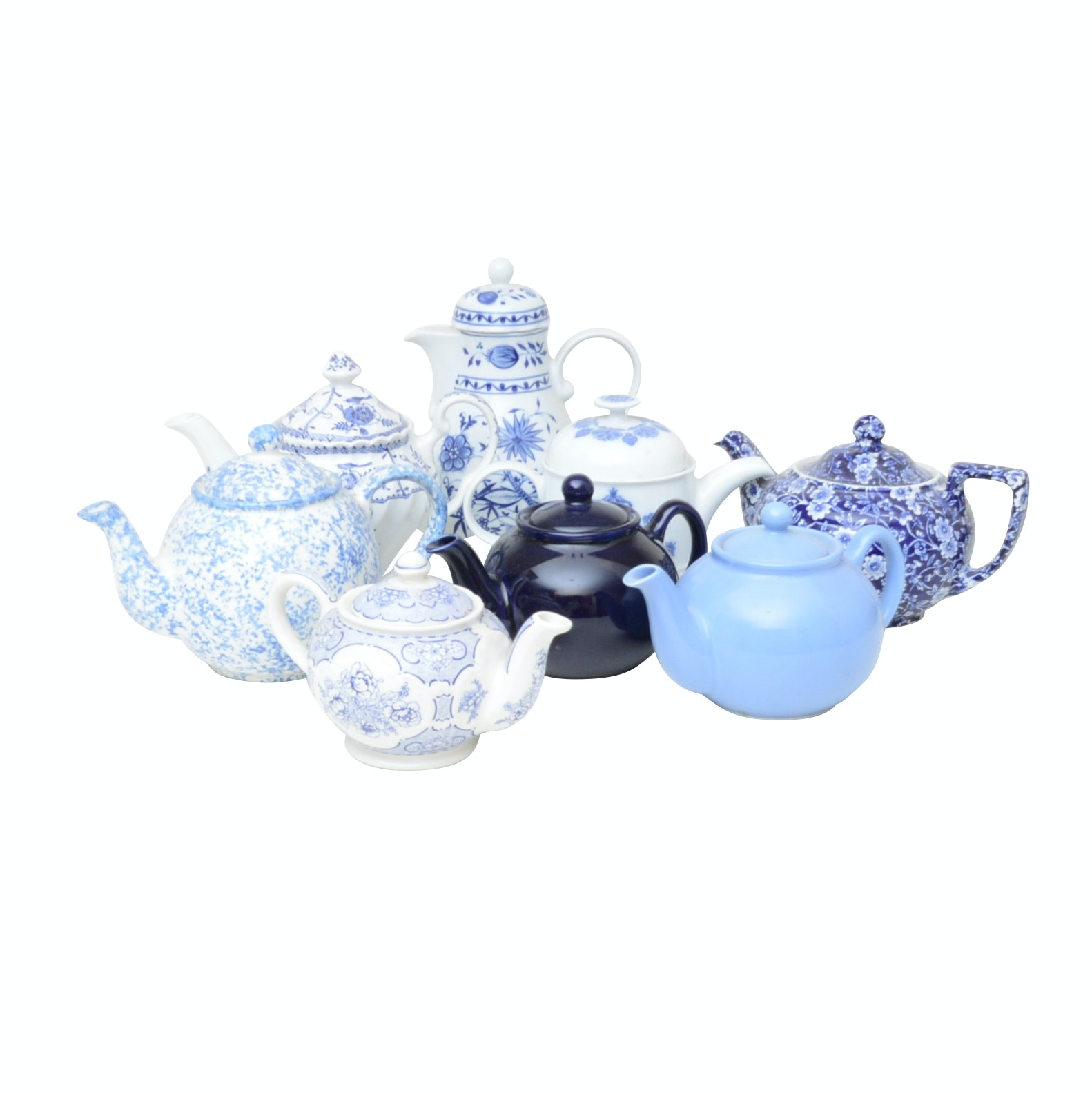 Collection of Blue and White Teapots