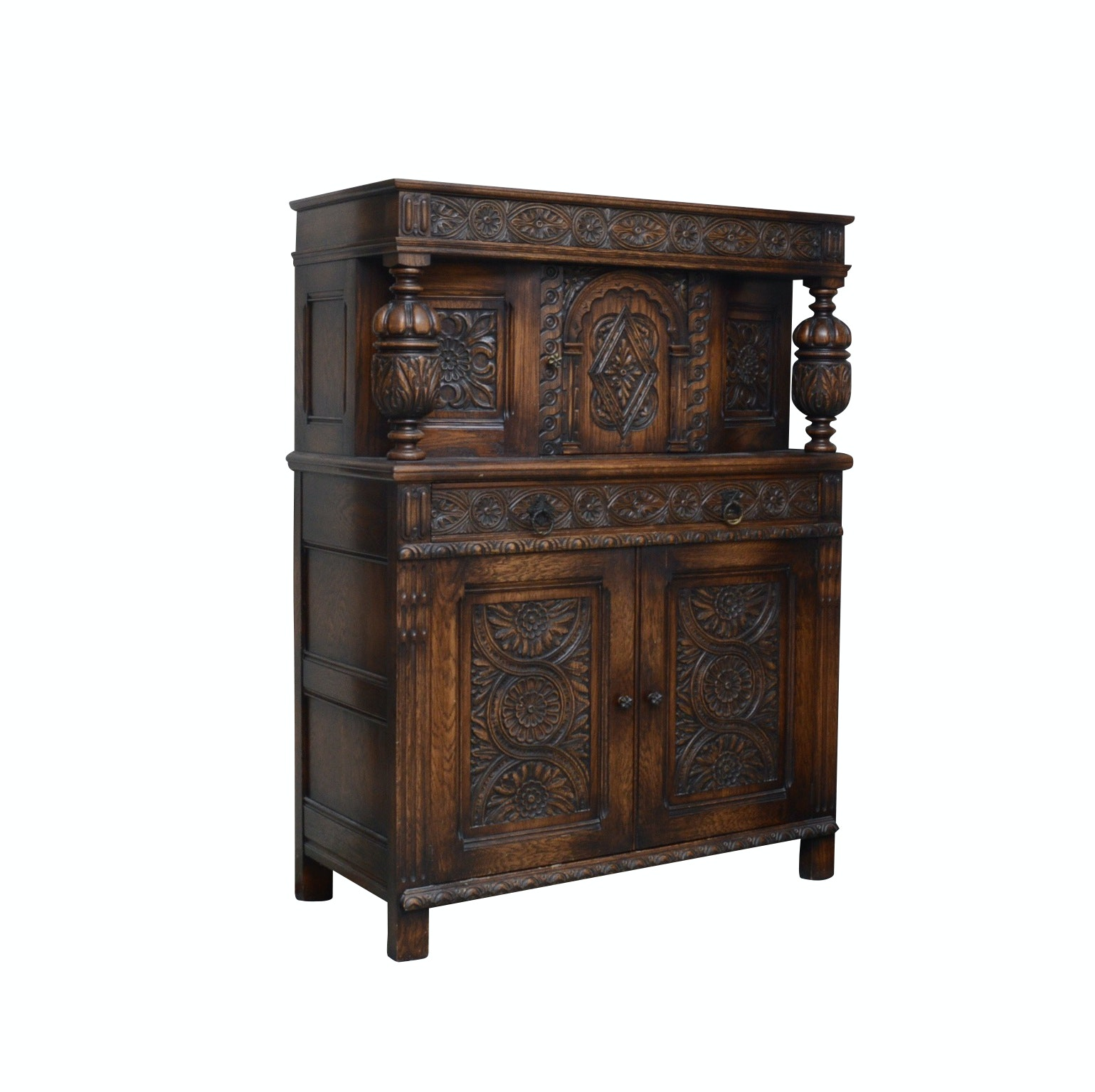 Jacobean Revival Carved Oak Cabinet, 1930s