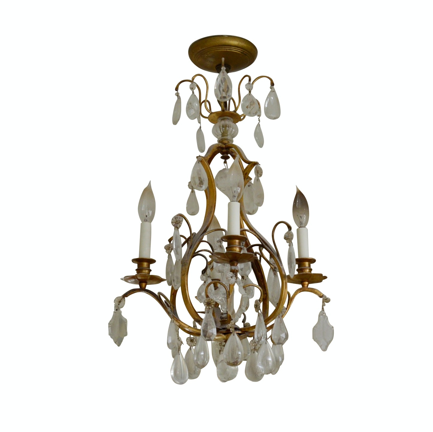 French Style Metal Chandelier with Glass Prisms Drops