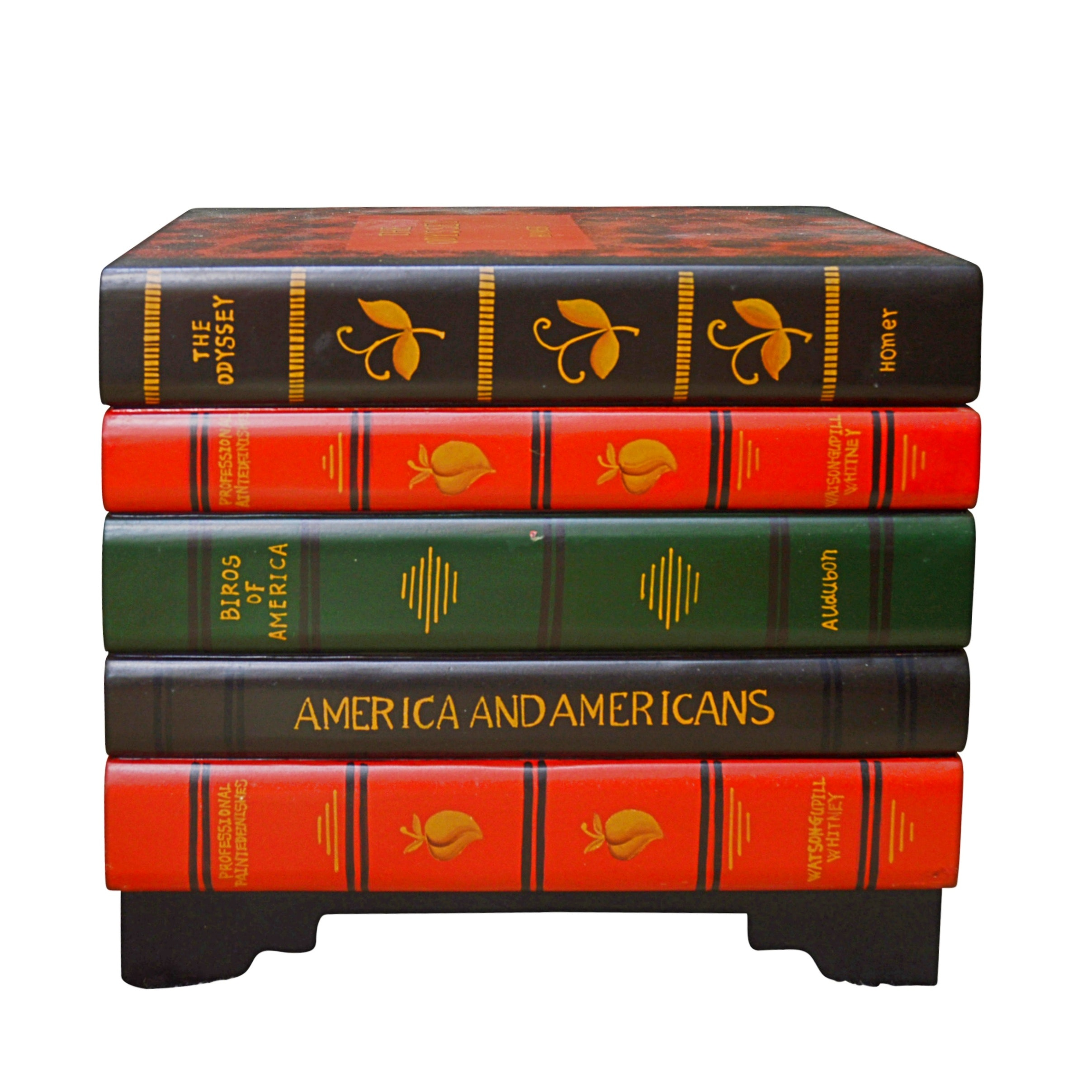 Contemporary Stacked Classic Books Composite Wooden Side Table