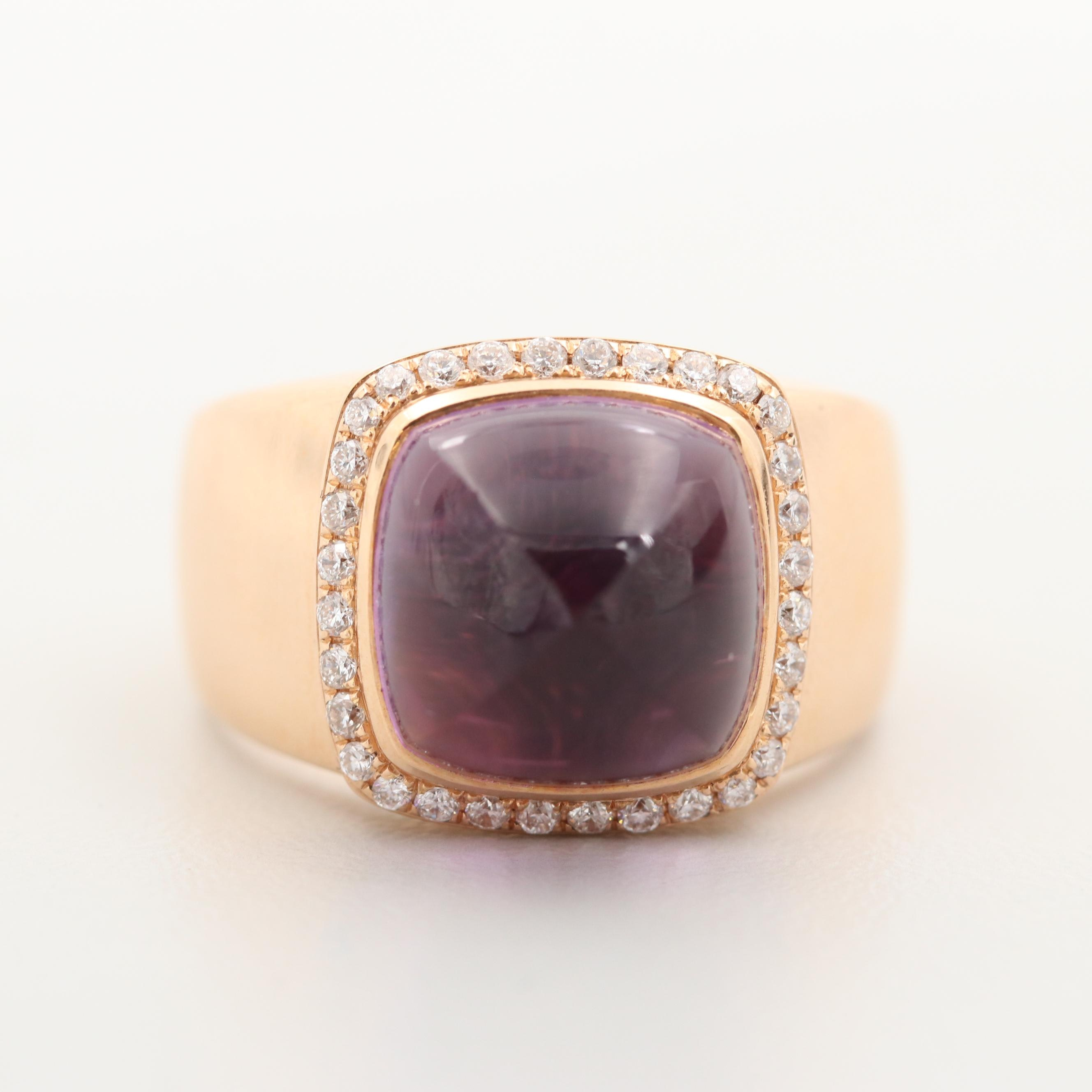 Fred of Paris 18K Rose Gold Amethyst and Diamond Ring with Box
