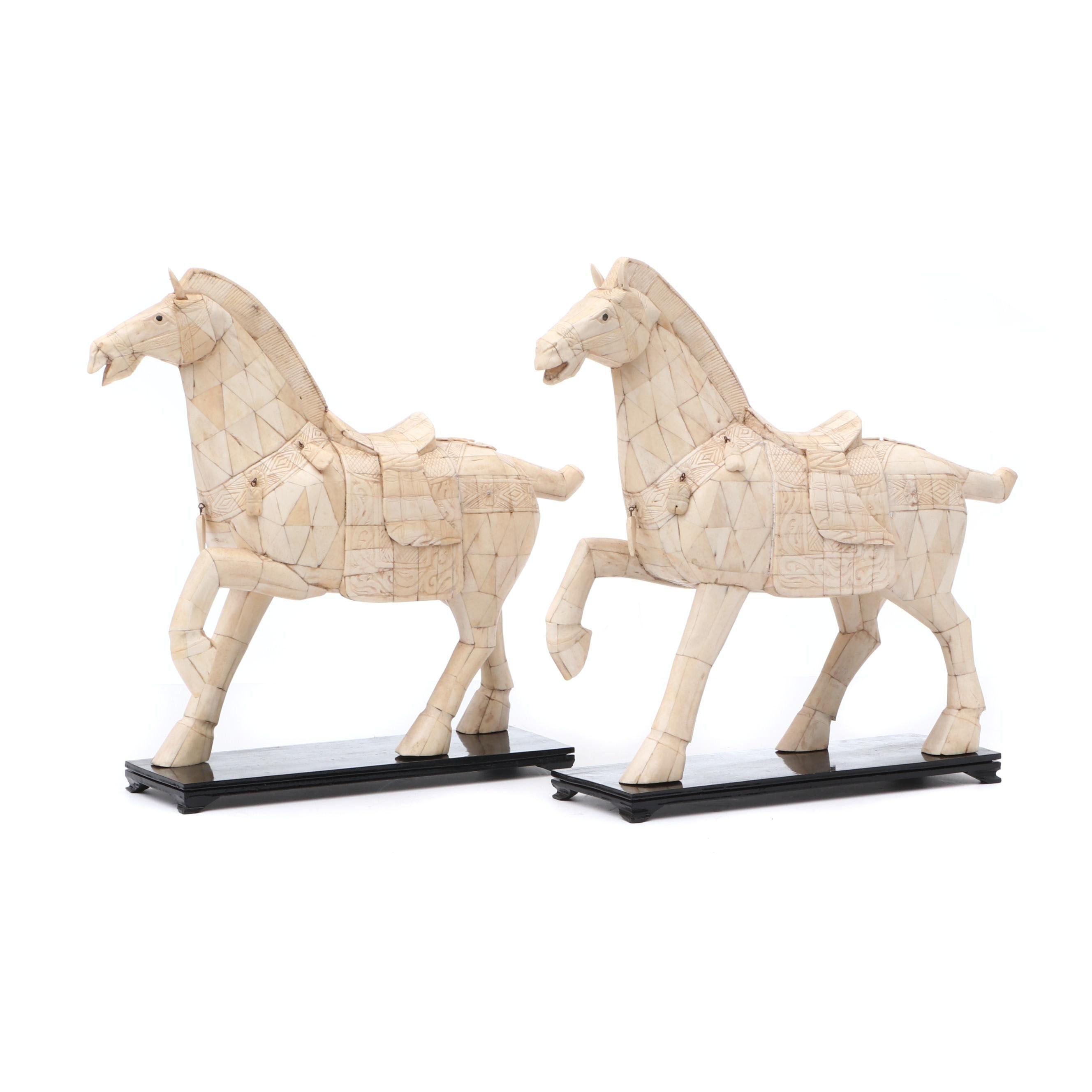Bone Veneered Horse Sculptures