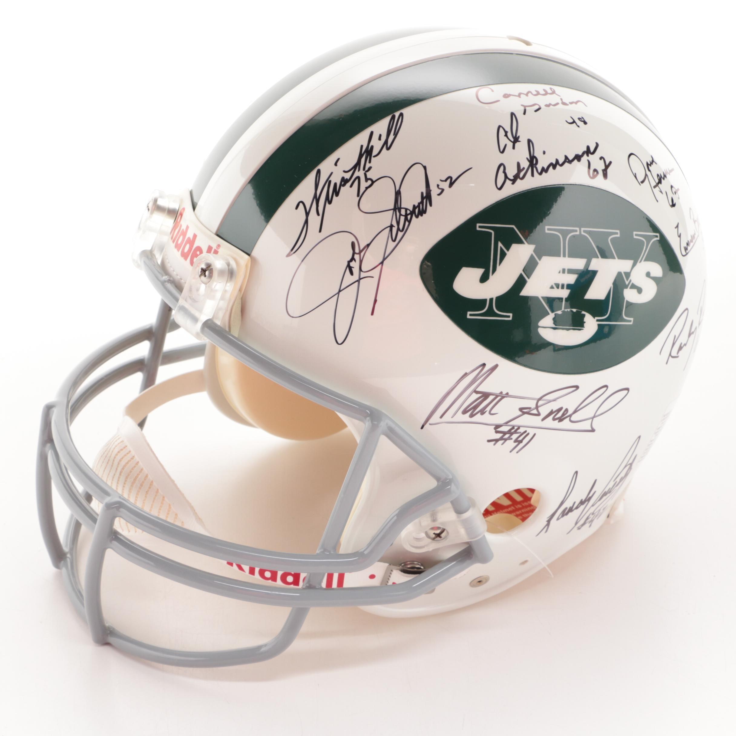 New York Jets 1969 Team Signed Full Size Helmet  COA