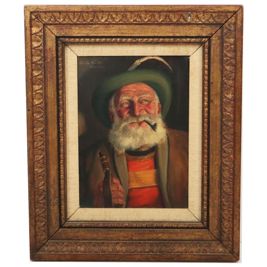 Fritz Müller Bavarian Portrait Oil Painting