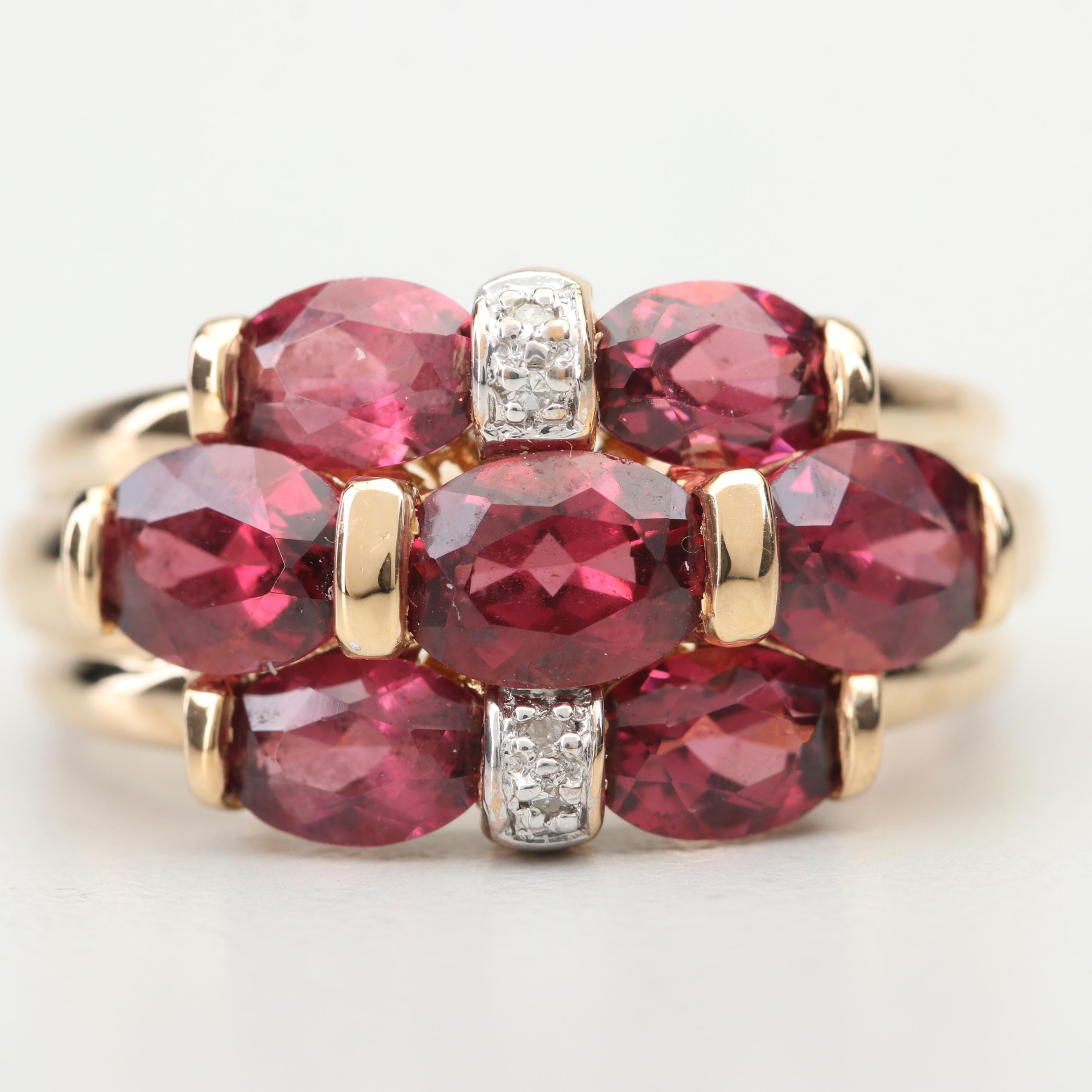 14K Yellow Gold 5.50 CTW Rhodolite Garnet and Diamond Ring