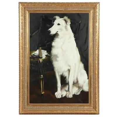 20th Century Borzoi Dog Portrait Oil Painting