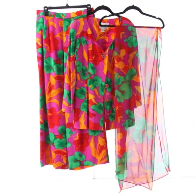 6b602340633e2d Scaasi Dress Bold Multicolor Ginkgo Print Silk Pantsuit with Shoulder Wrap