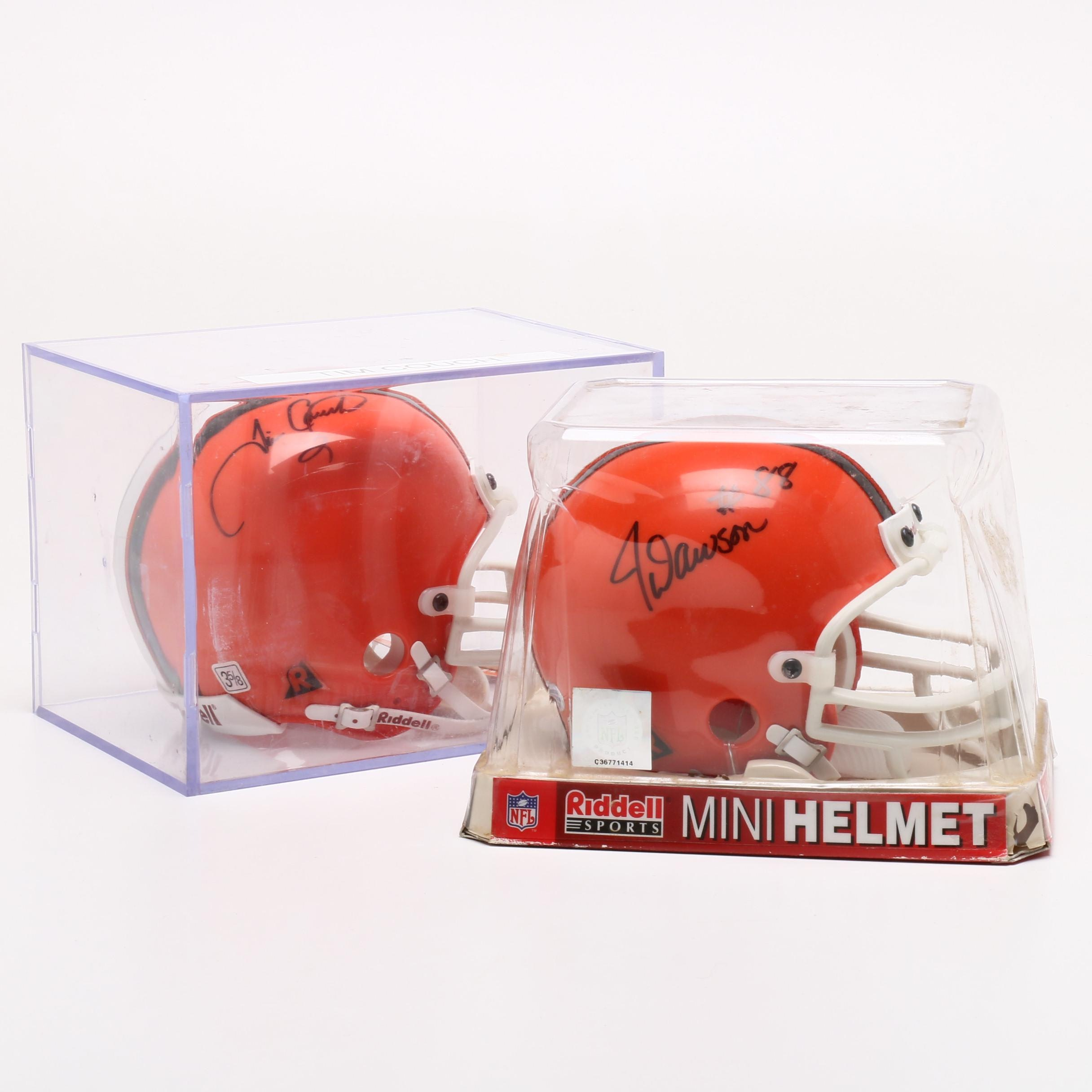 Tim Couch and Ja Juan Dawson Cleveland Browns Signed Mini Football Helmets
