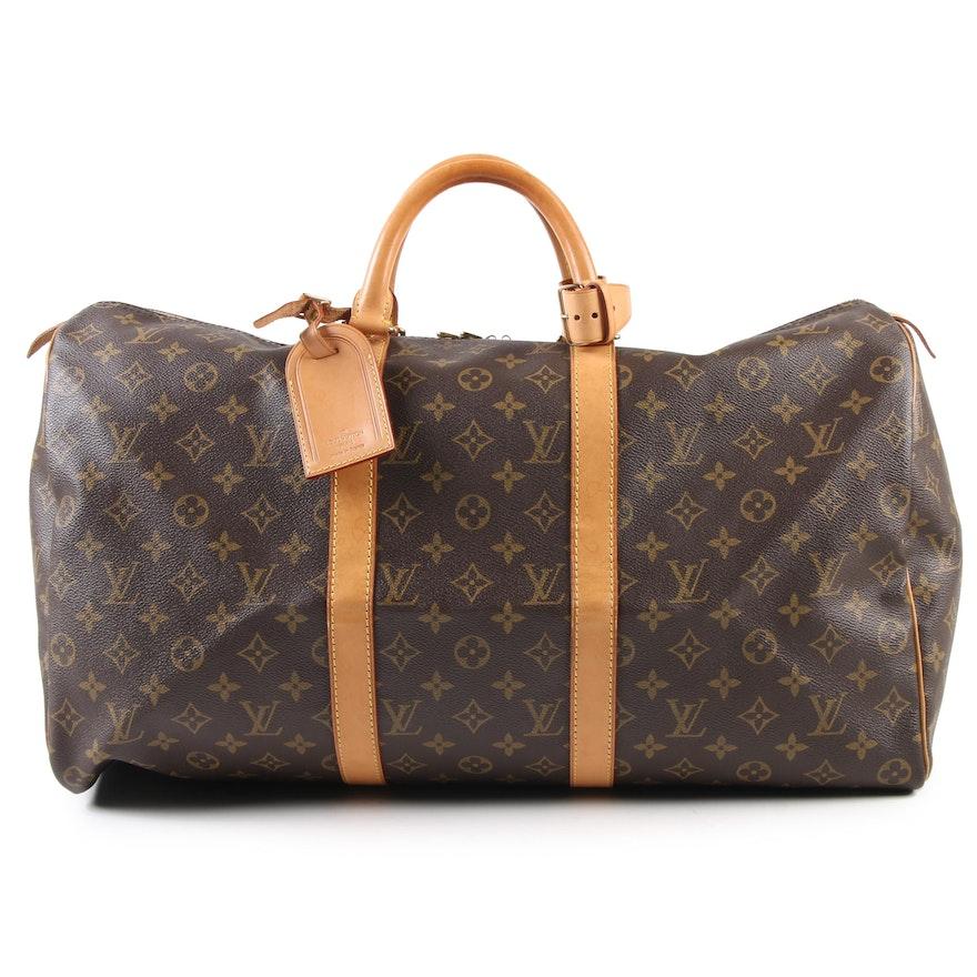 Louis Vuitton Paris Monogram Canvas and Vachetta Leather Keepall 50 Bag