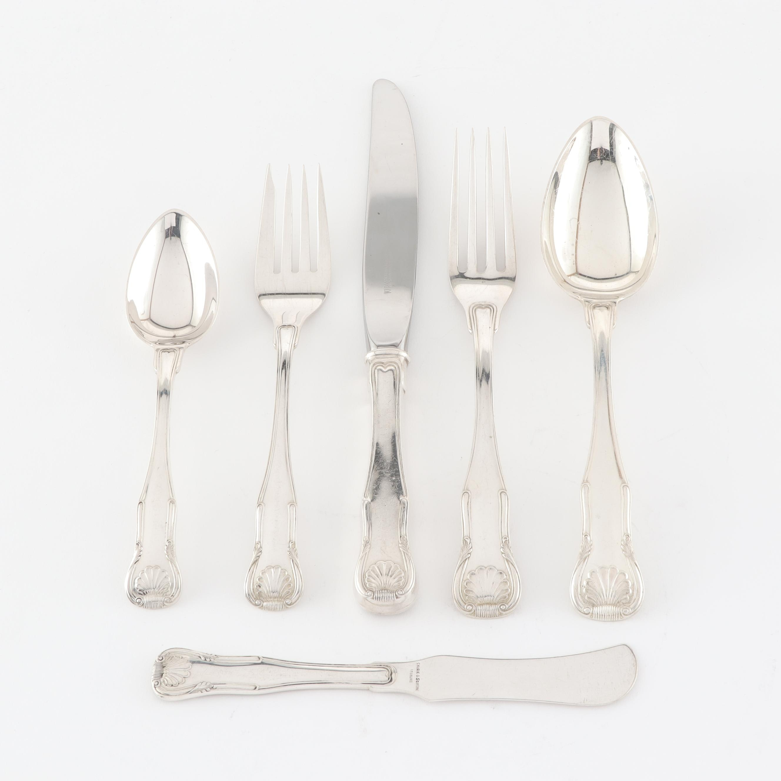 "S.Kirk and Son ""King"" Sterling Silver Flatware in Chest"