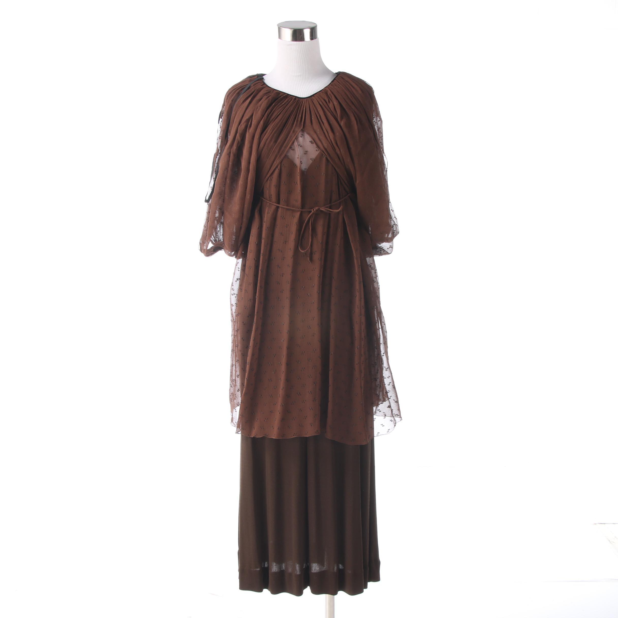 Tracy Mills Matte Bronze Slip Dress with Sheer Batwing Overlay
