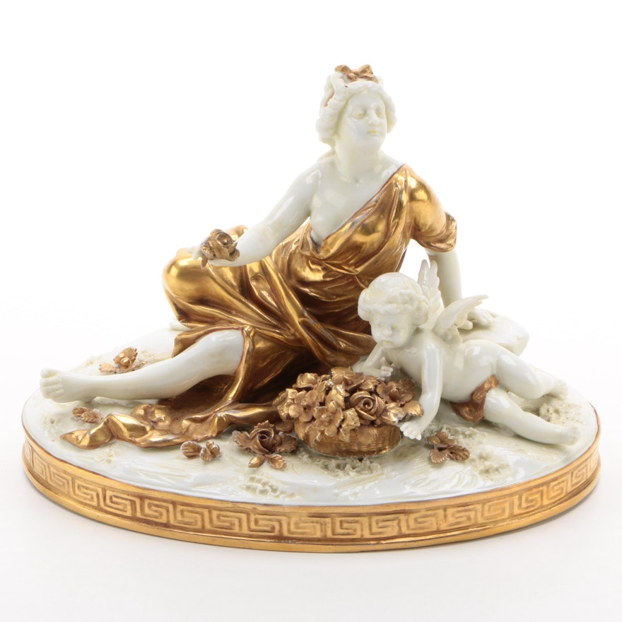 Aelteste Volkstedter Porcelain Woman and Cherub Figurine, Early 20th Century