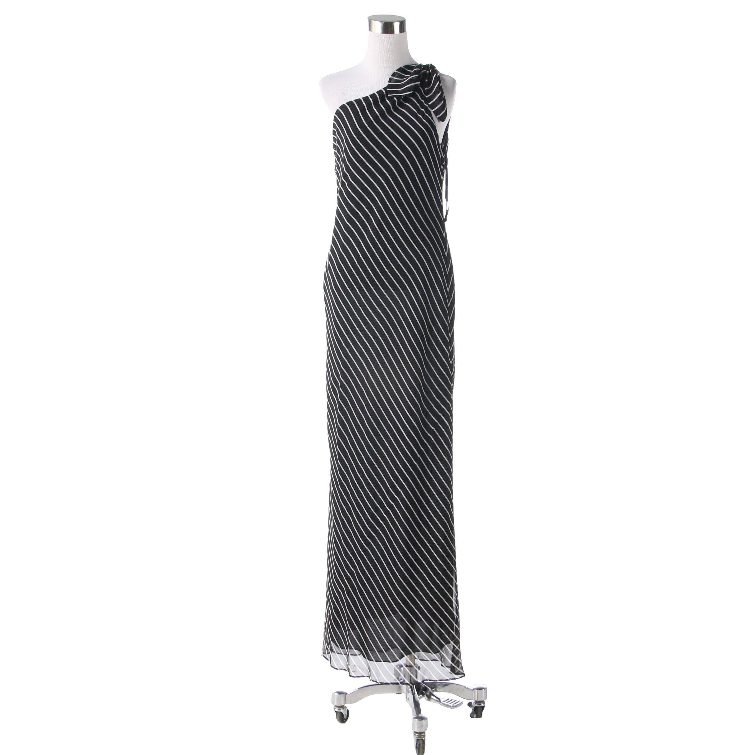 WorthWear Petite Silk One-Shoulder Evening Dress in Black and White Stripes