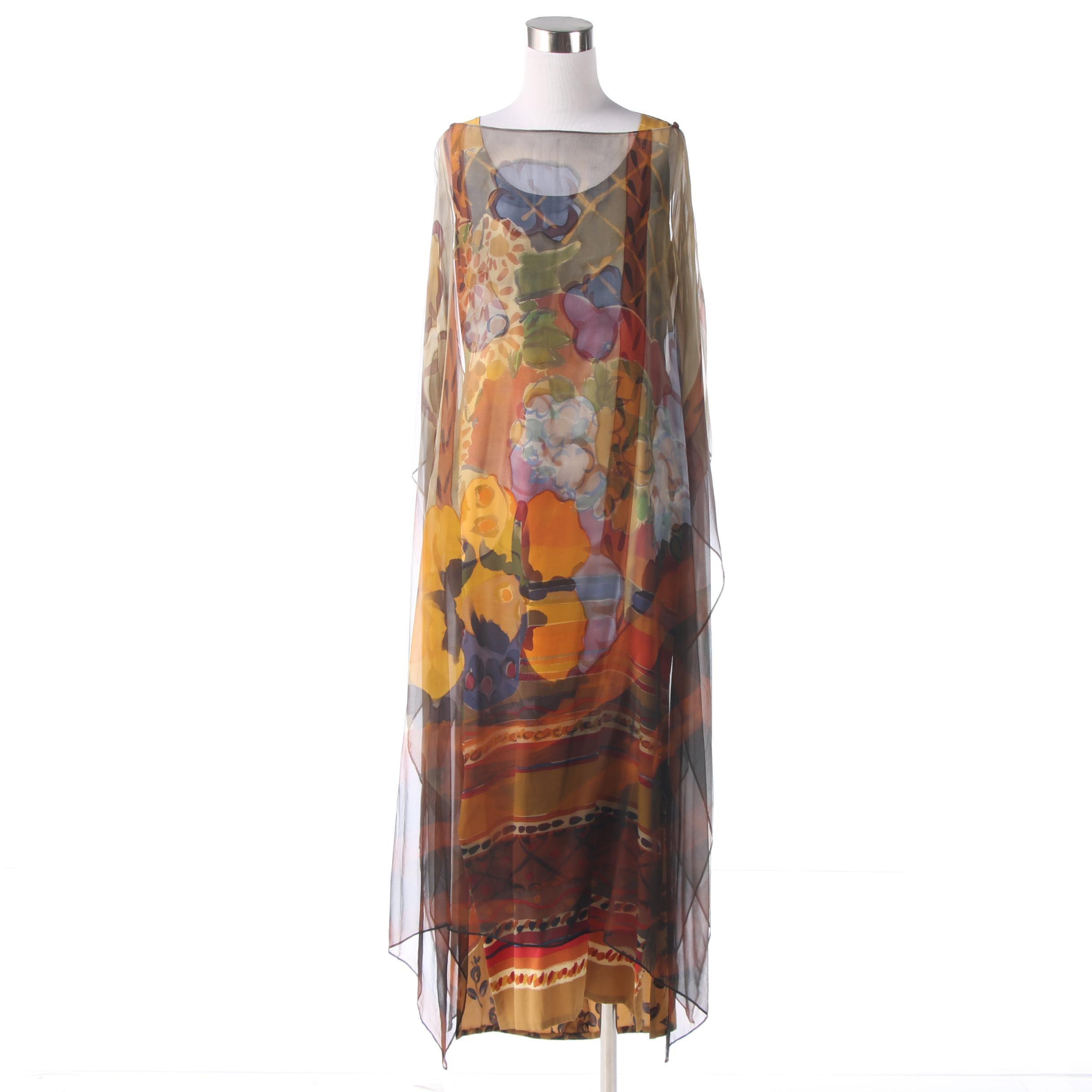 Bill Blass Mixed Print Silk Dress With Sheer Overlay, Vintage