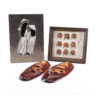 Korean Miniature Masks, Wooden African Masks and East Asian Enamel Painting