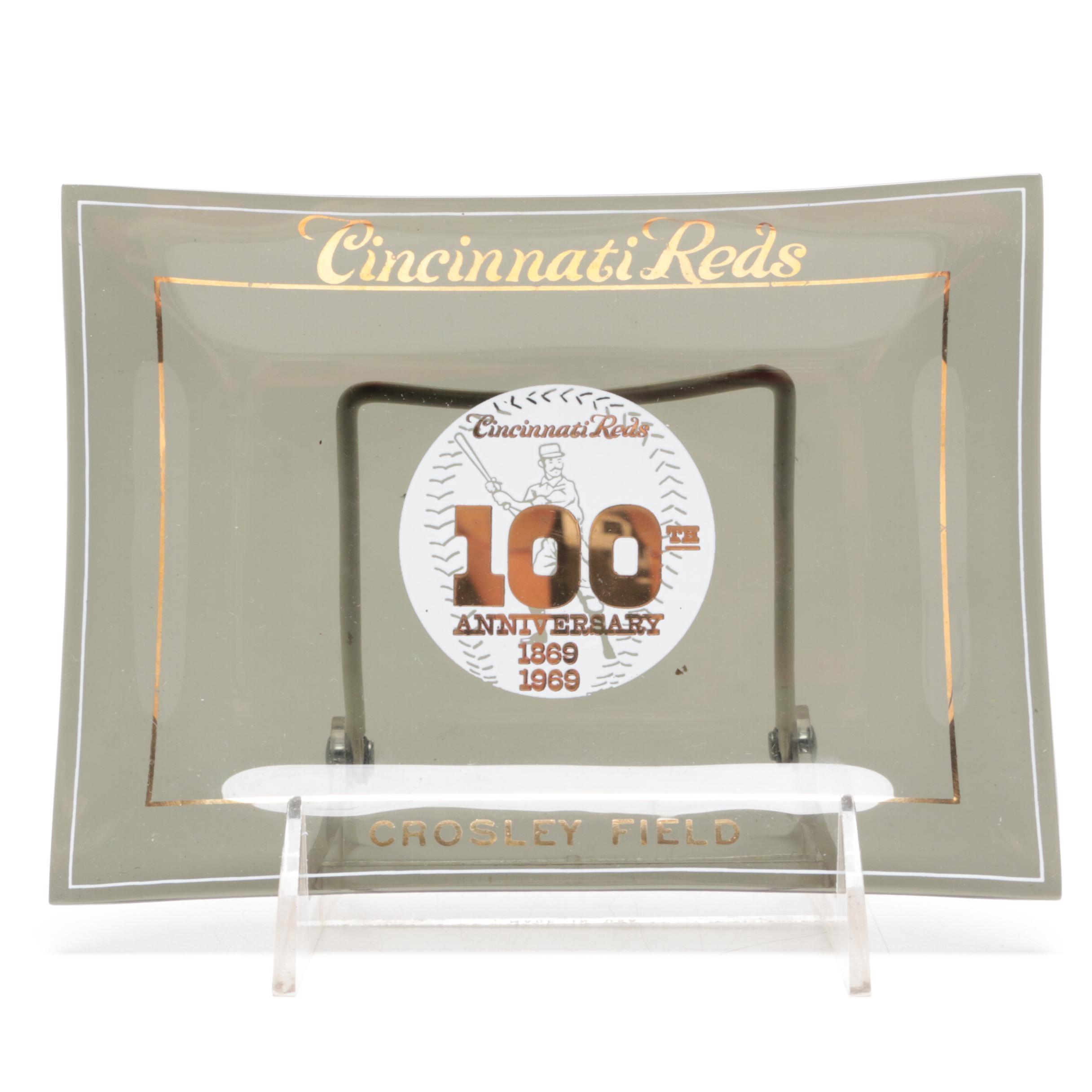 "1969 Crosley Field ""100th Anniversary"" Smoked Glass Tray in Original Box"