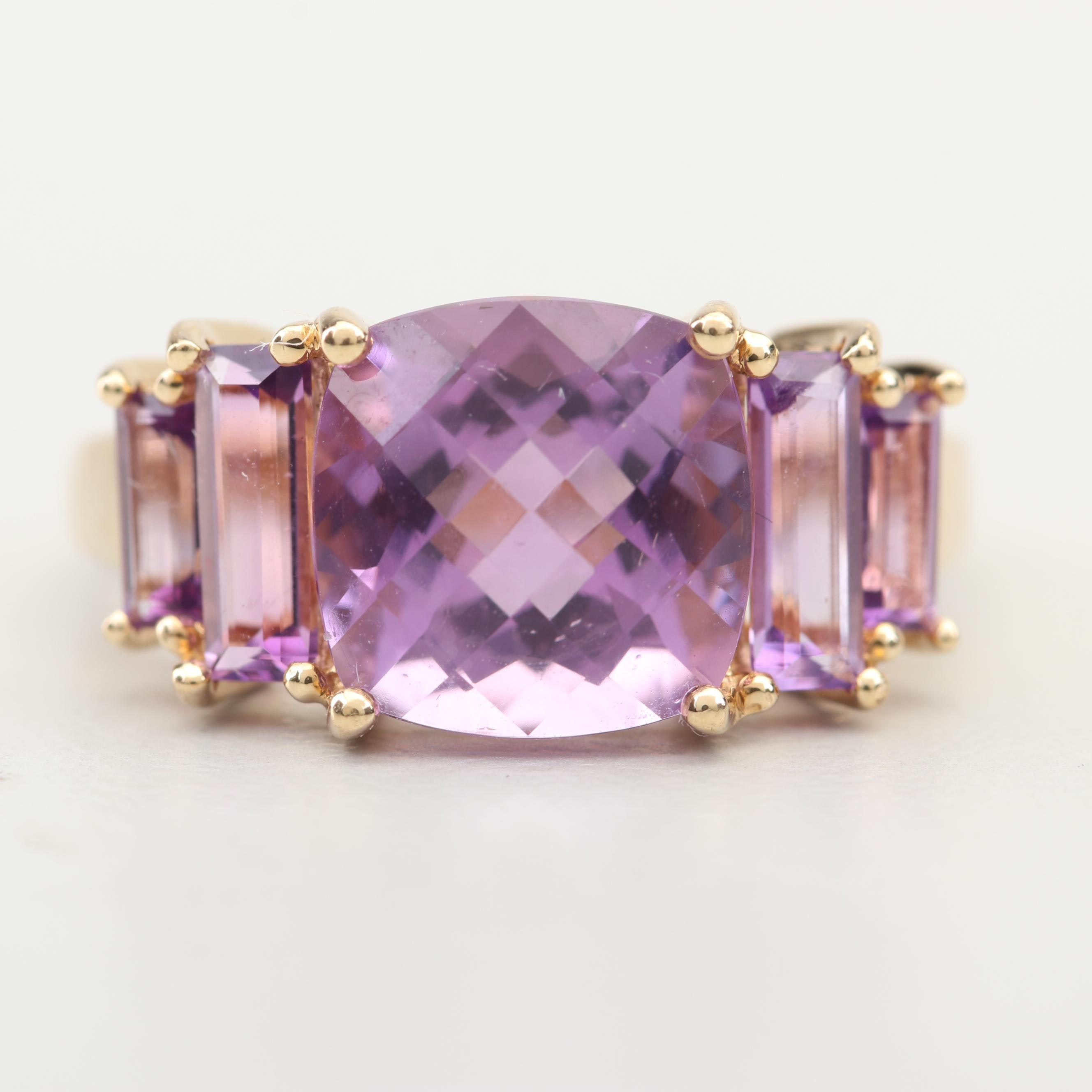 14K Yellow Gold 4.25 CTW Amethyst Ring