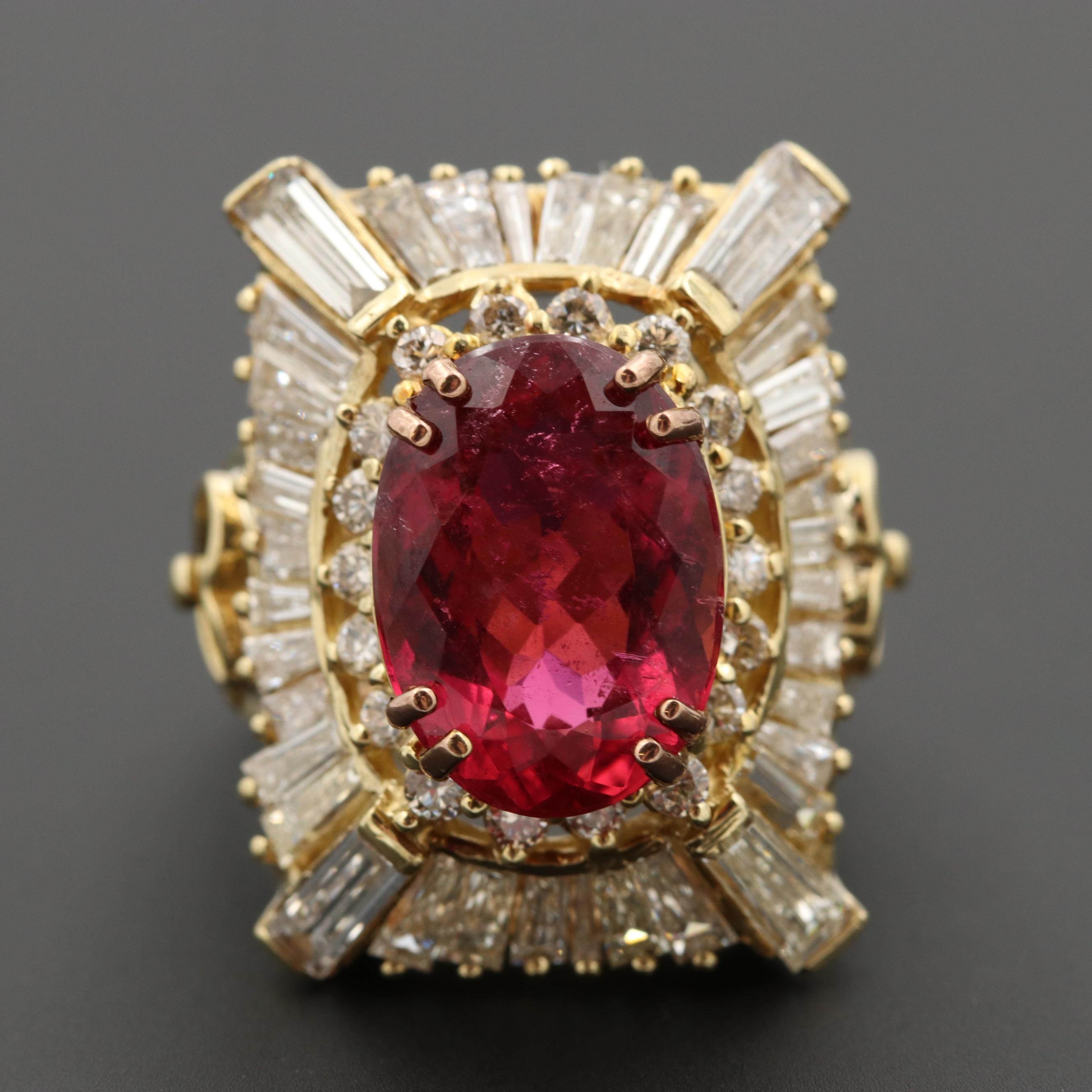 18K Yellow Gold 5.26 CT Rubelite Tourmaline and 3.54 CTW Diamond Ring