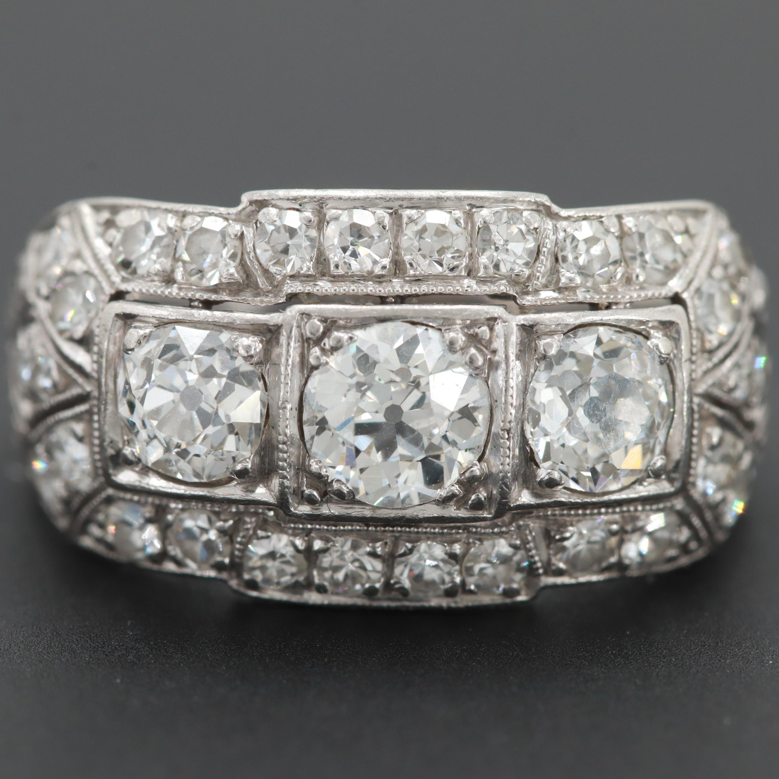 Art Deco Platinum 1.53 CTW Diamond Hand Engraved Ring