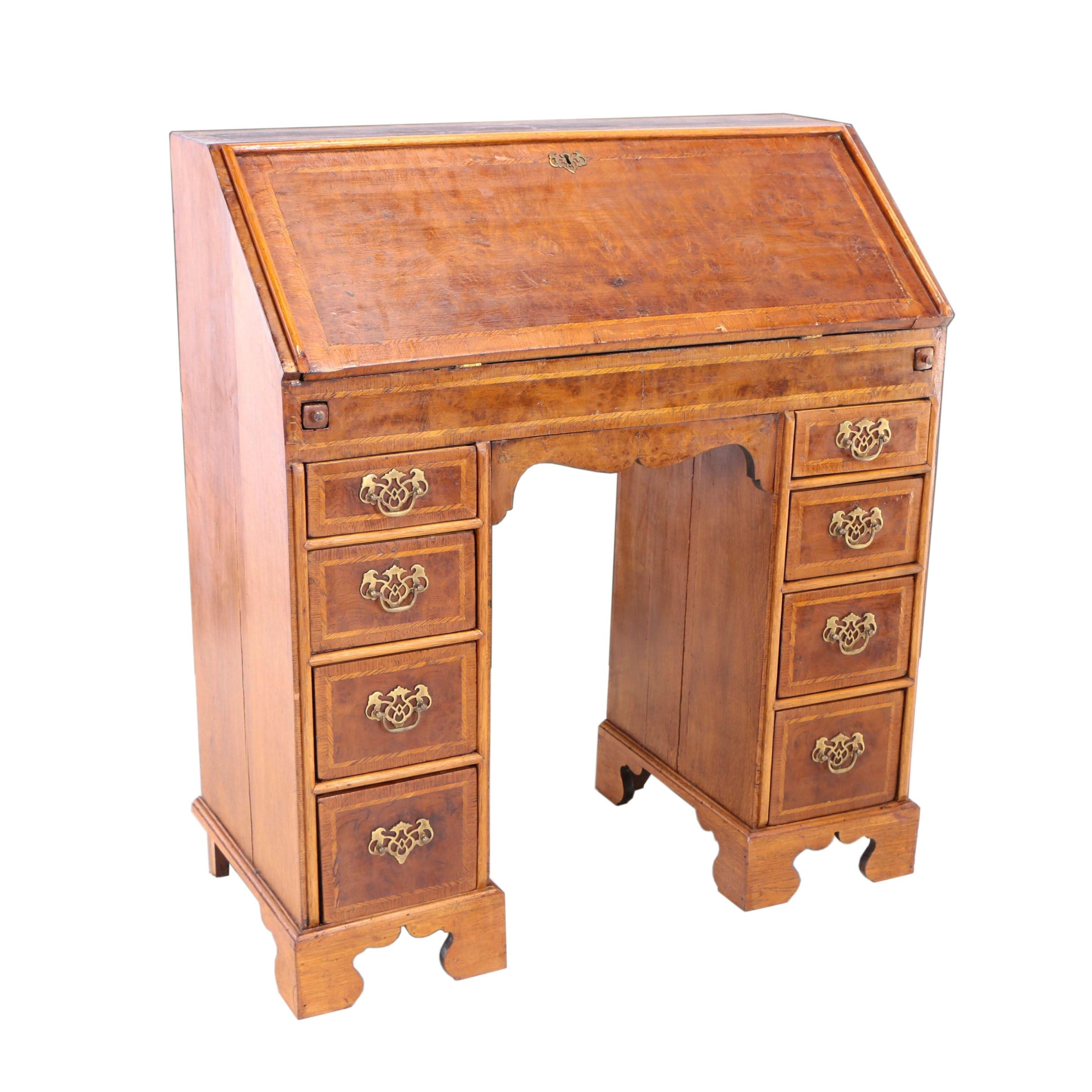 English Oak and Burr Elm Kneehole Bureau, 18th Century