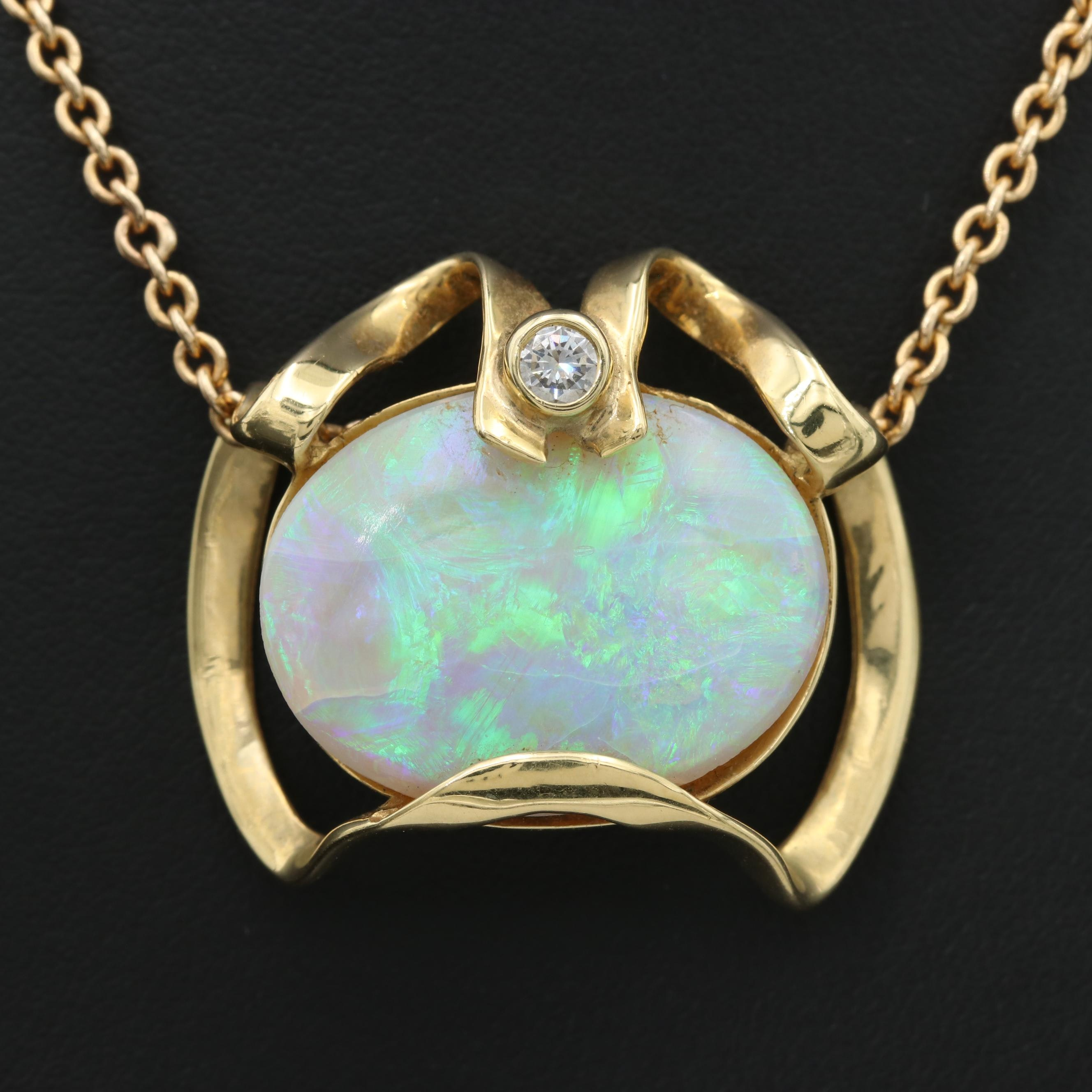 Vintage 14K and 18K Yellow Gold 14.02 CT Opal and Diamond Slide Pendant Necklace