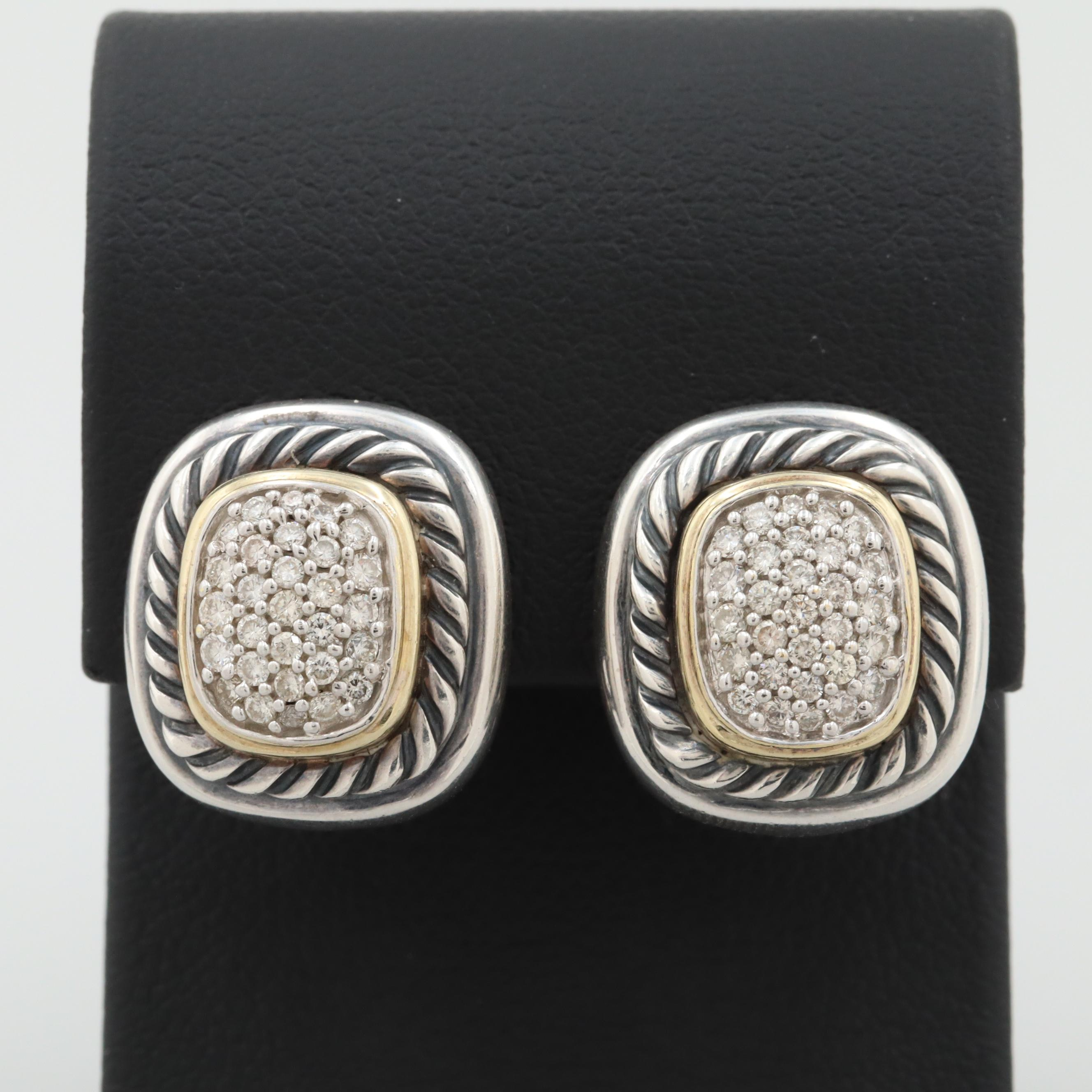 David Yurman Albion Sterling Silver and 18K Yellow Gold Diamond Earrings