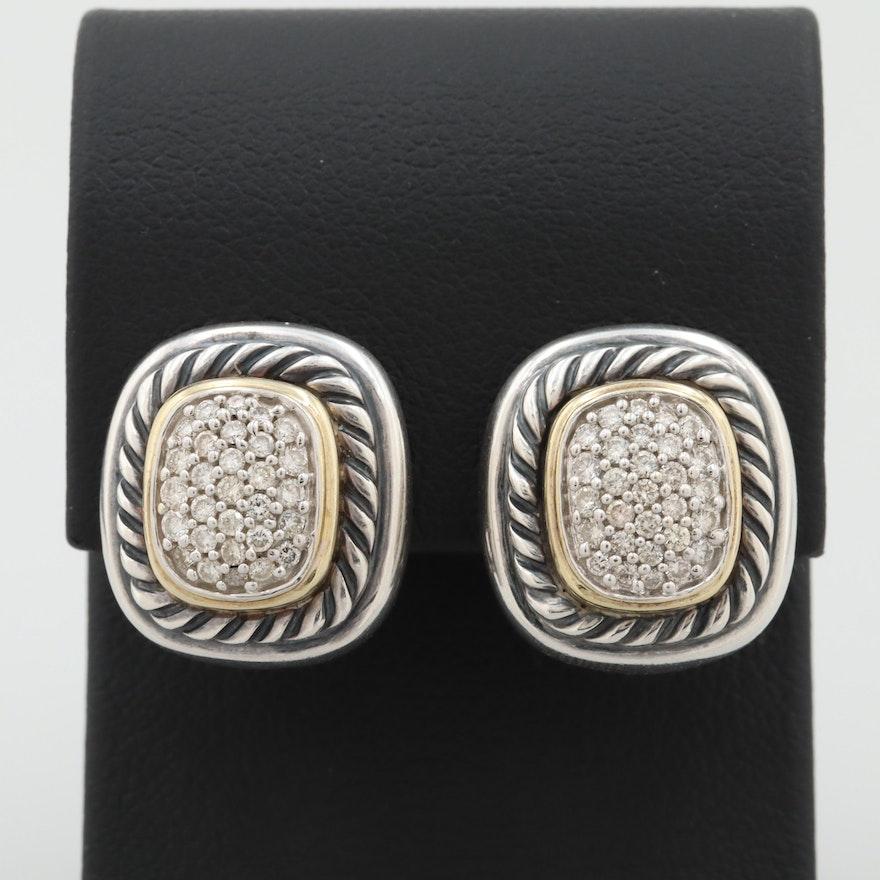 David Yurman Albion Sterling Silver and 18K Yellow Gold Diamond Earrings